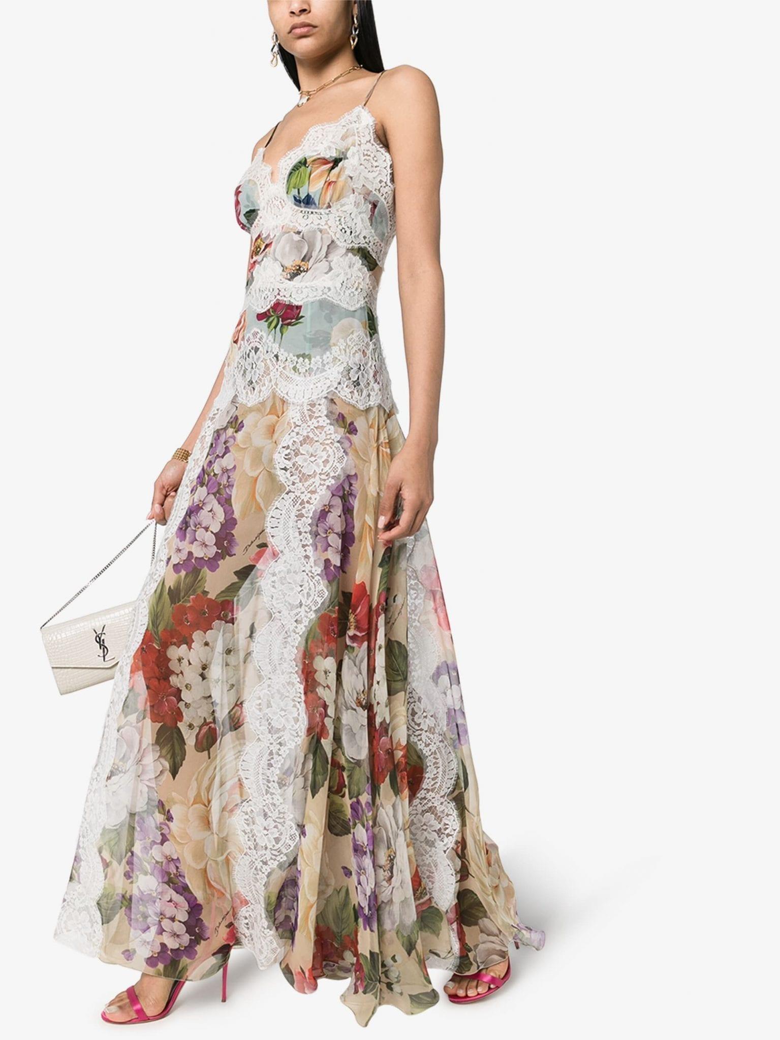 DOLCE & GABBANA Floral Lace Chiffon Slip Maxi Dress