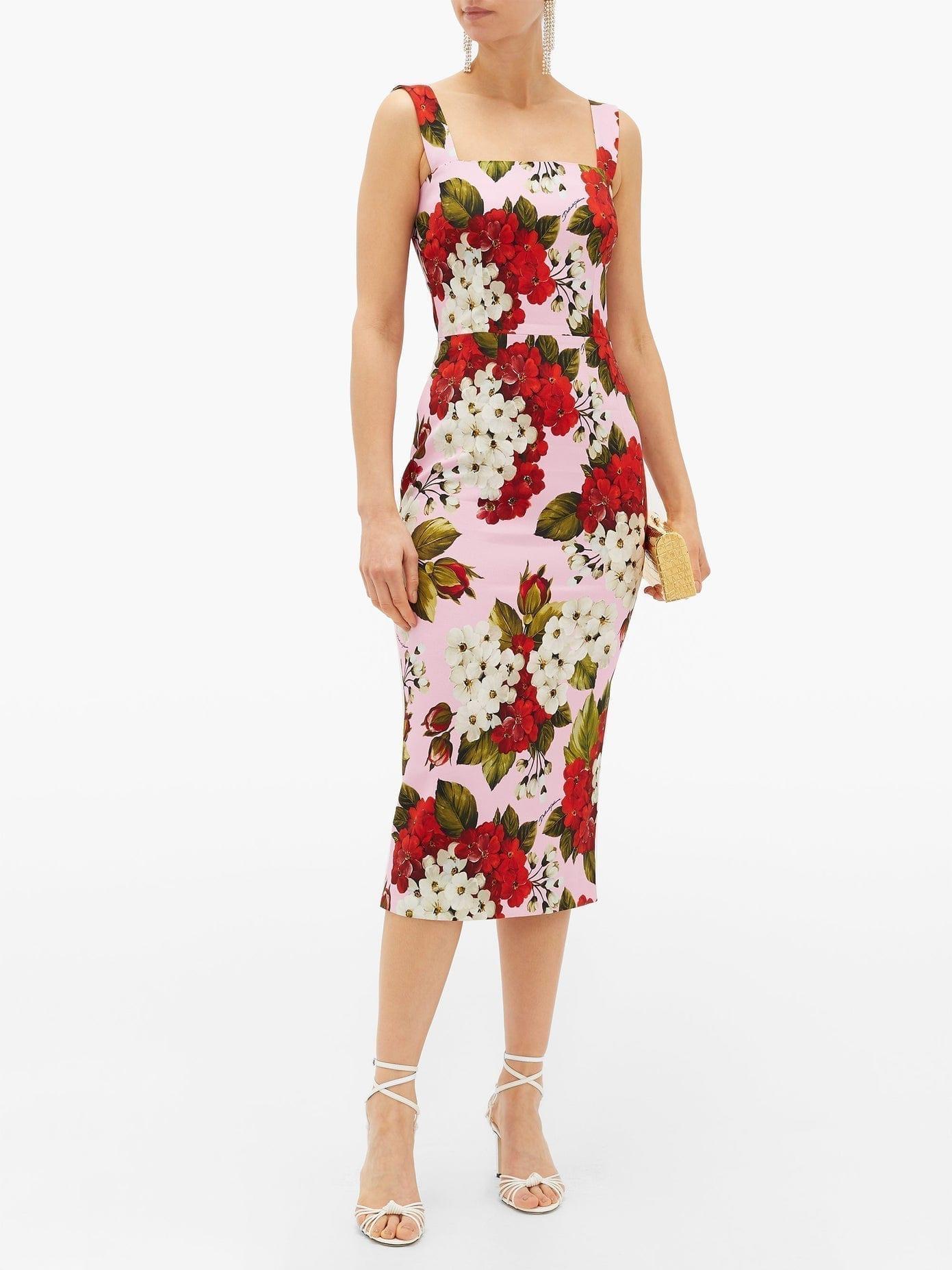 DOLCE & GABBANA Floral-Print Cady Midi Dress