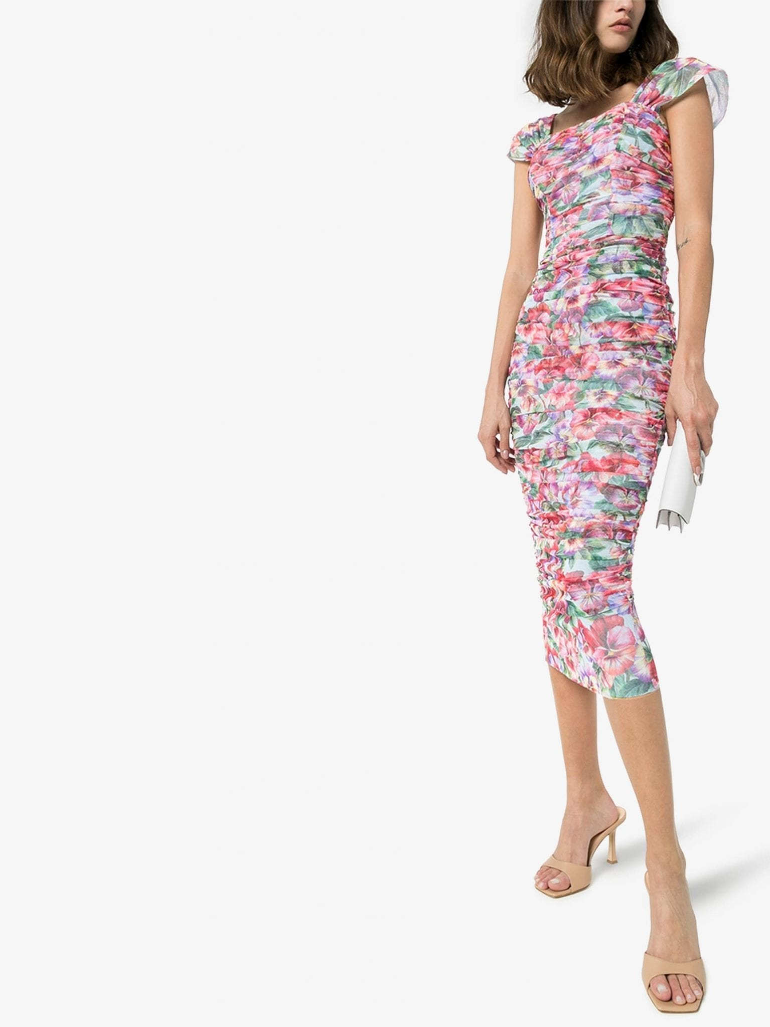 DOLCE & GABBANA Floral Print Ruched Tulle Dress