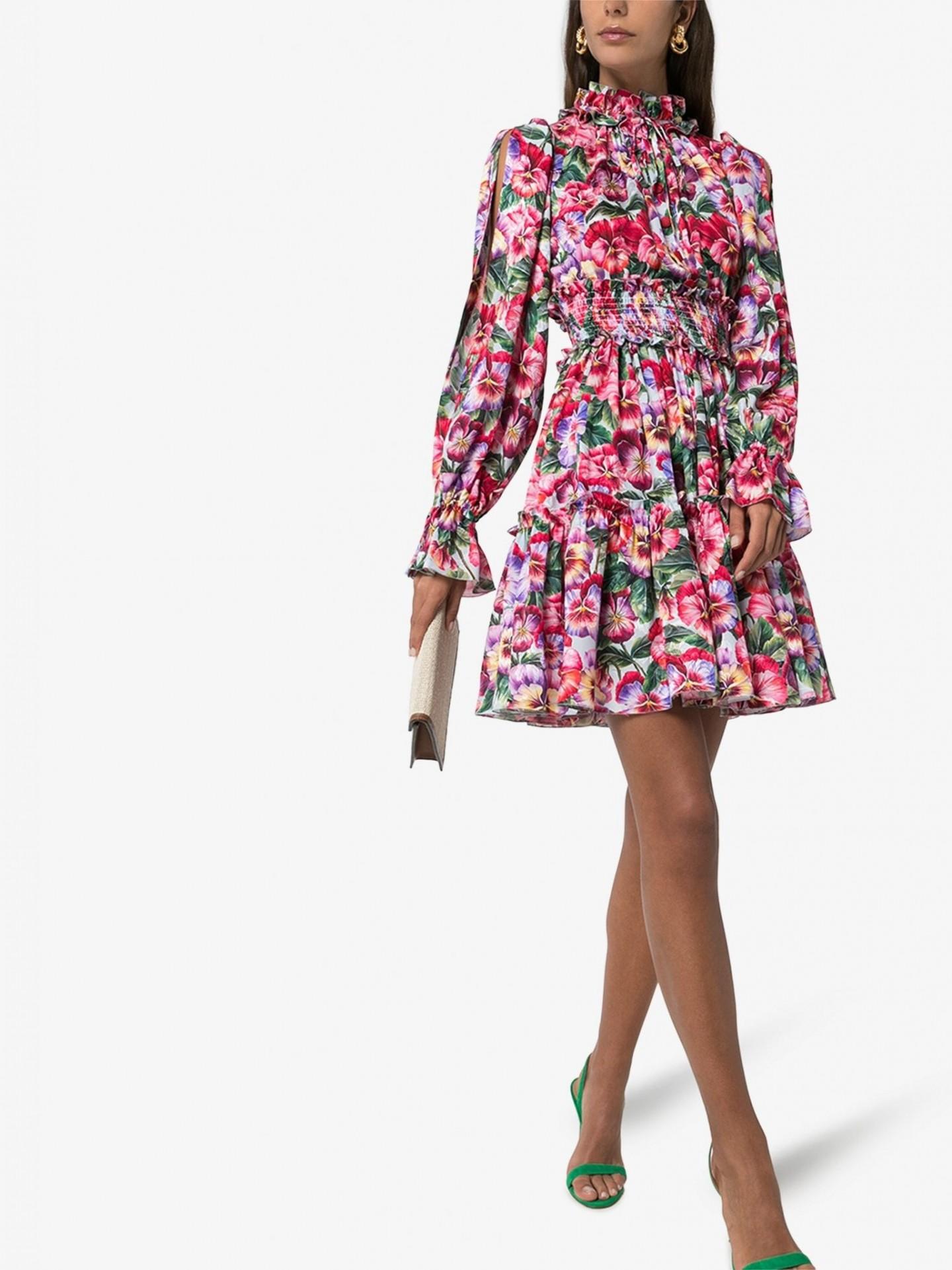 DOLCE & GABBANA Floral Print Silk Mini Dress
