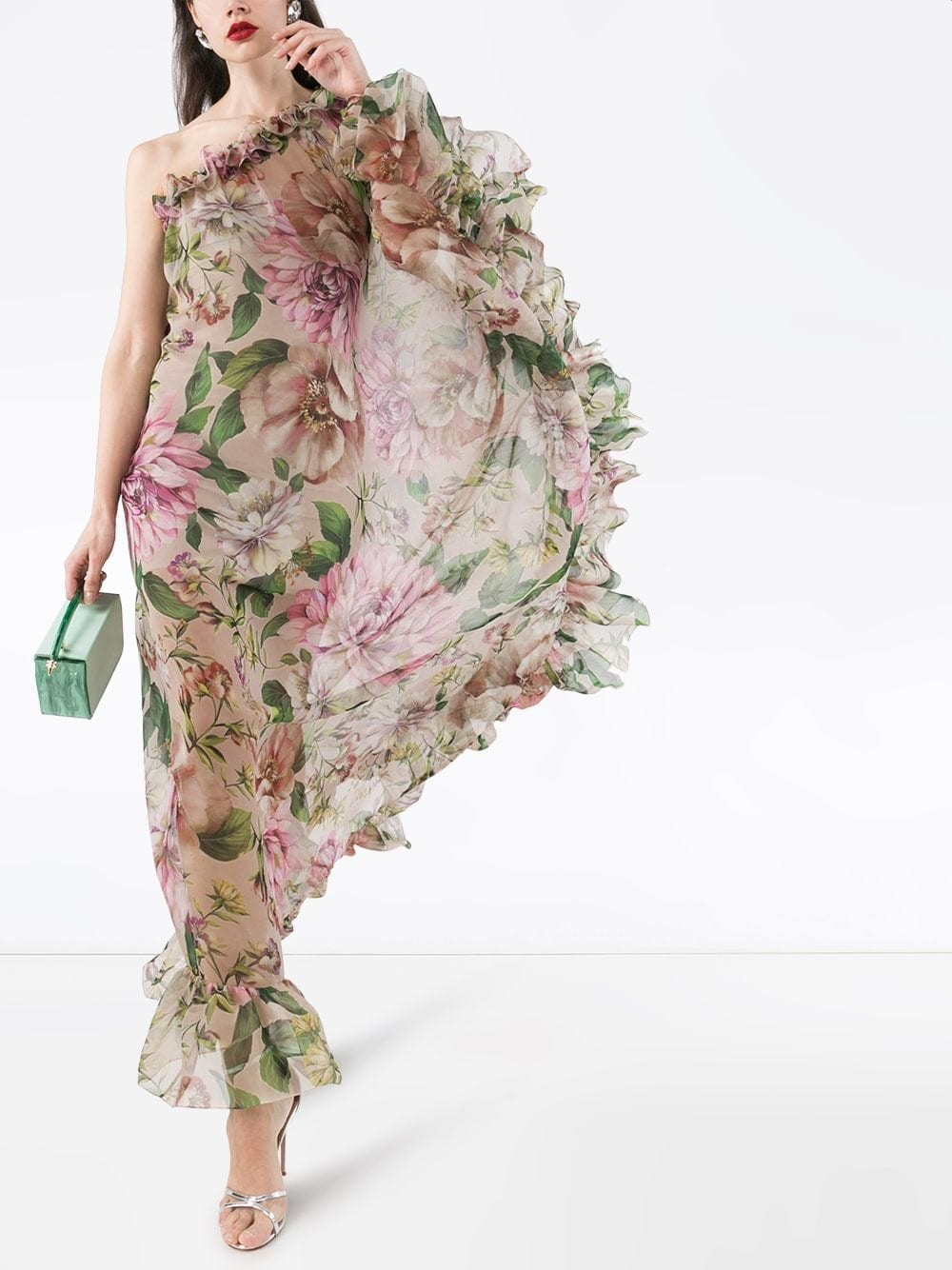 DOLCE & GABBANA One-shoulder Rose-print Dress