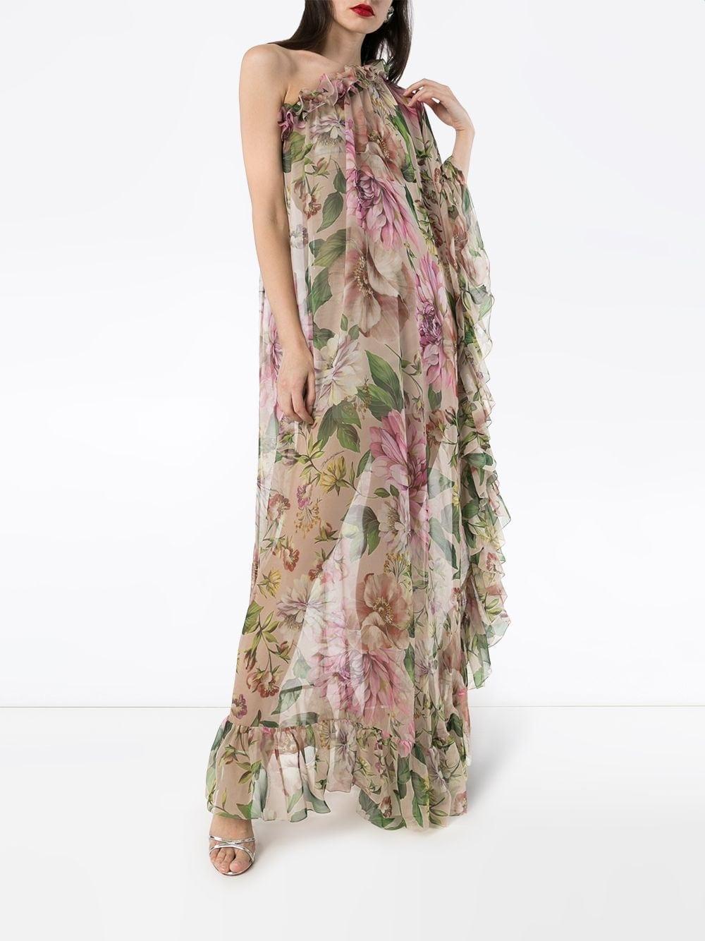 DOLCE & GABBANA One-shoulder Rose-print Dress