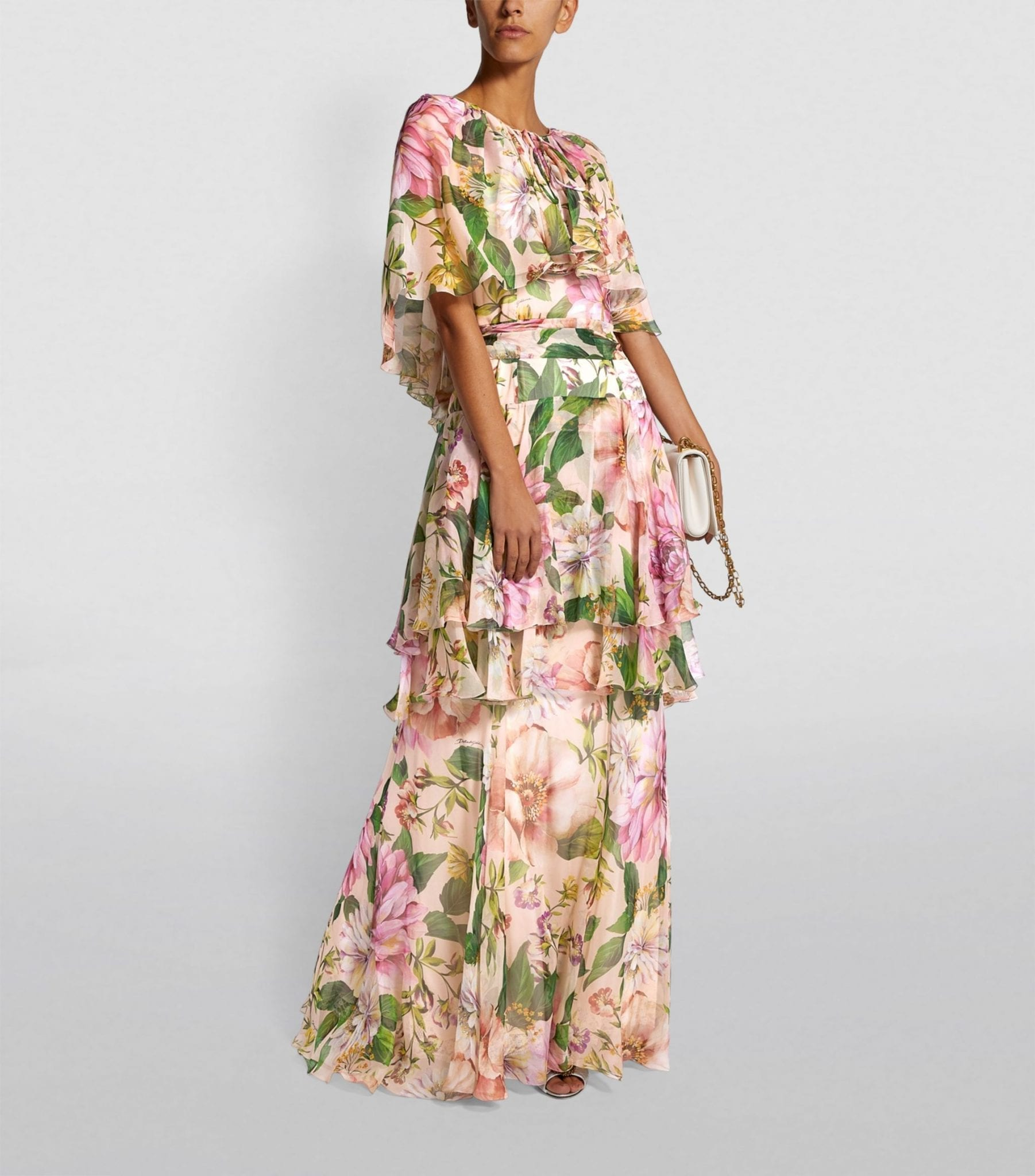 DOLCE & GABBANA Silk Floral Print Layered Maxi Dress