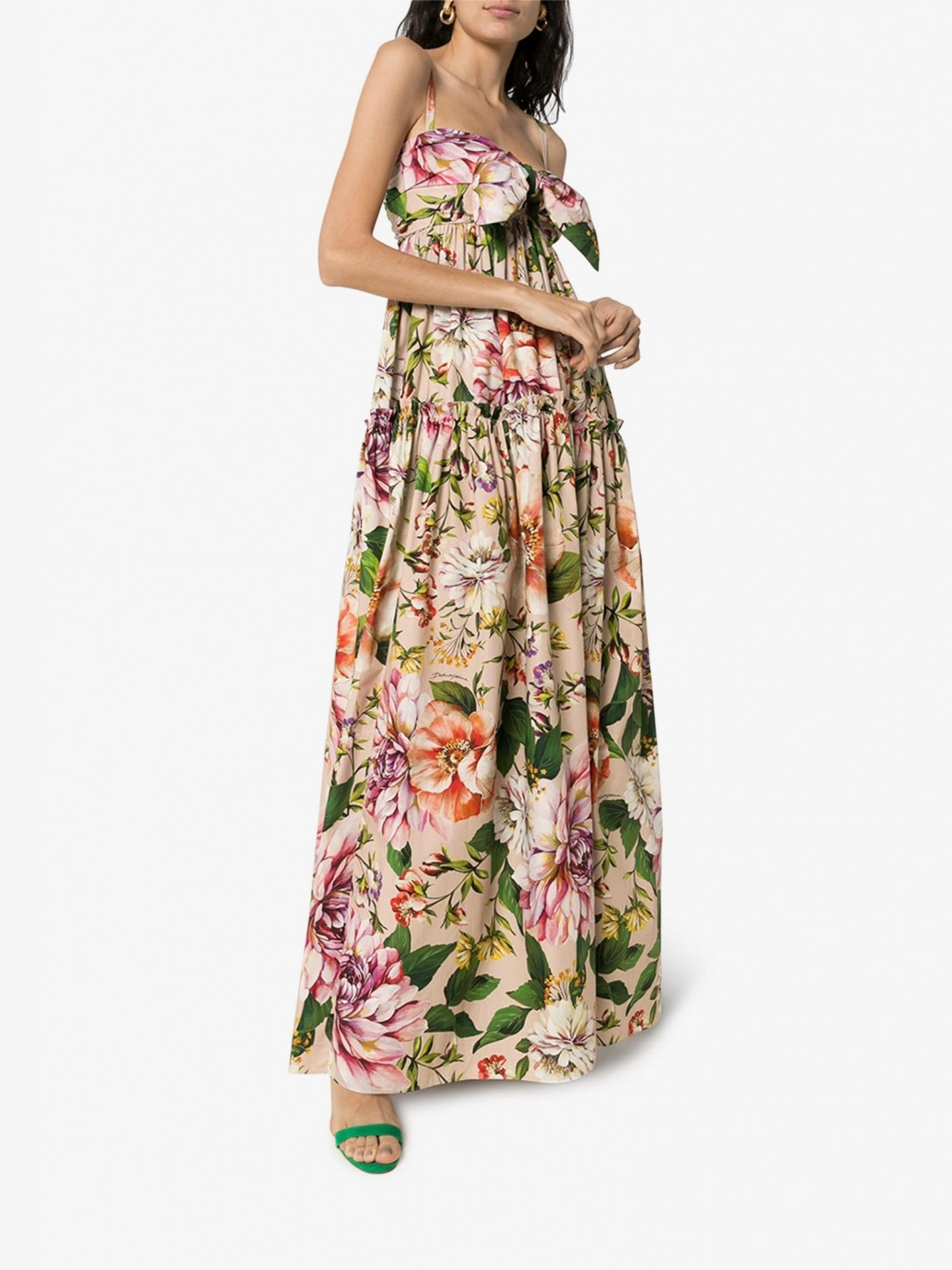 DOLCE & GABBANA Tie Front Floral Maxi Dress