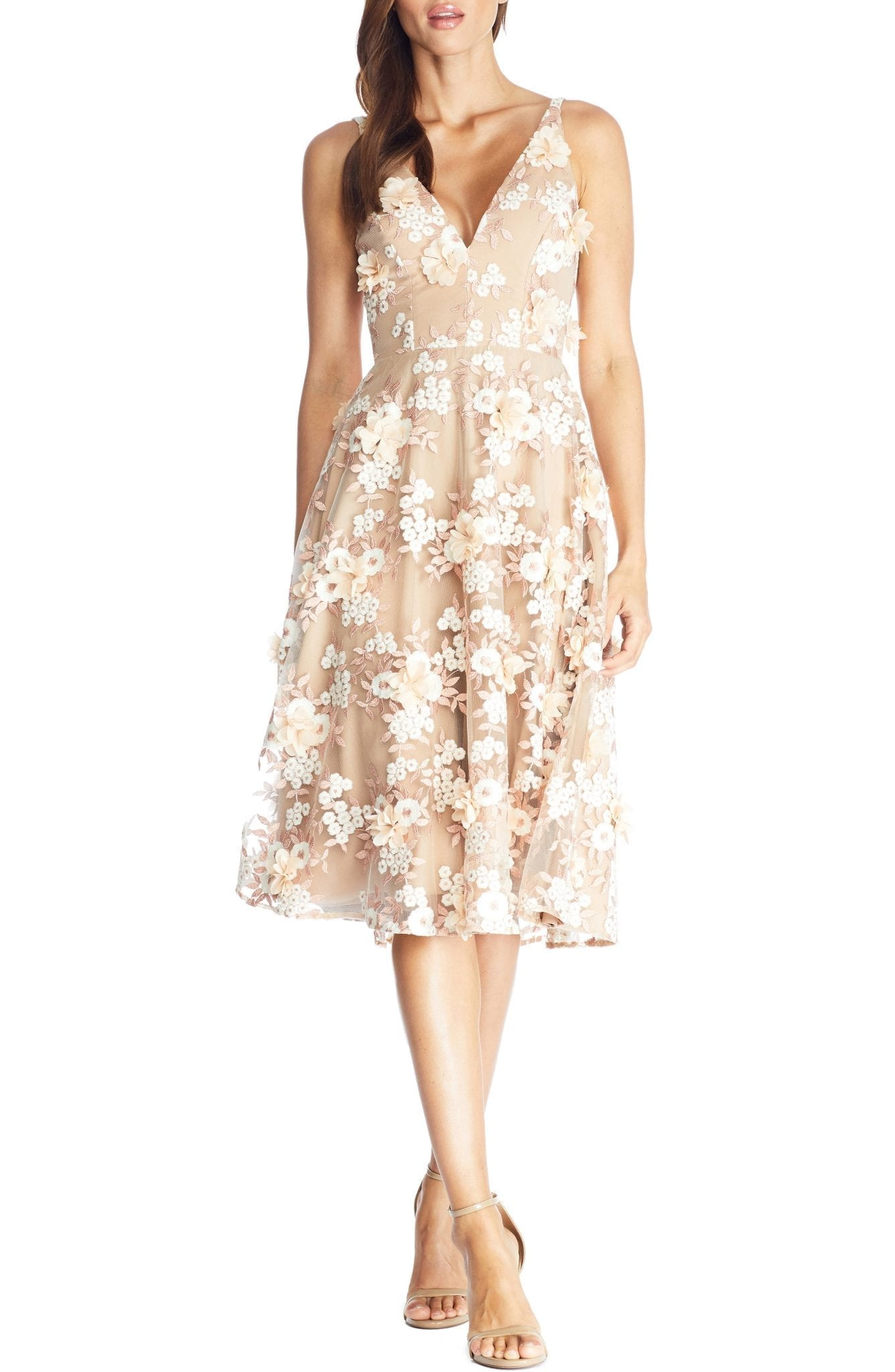 DRESS THE POPULATION Elisa Floral Appliqué Embroidered Fit & Flare Dress