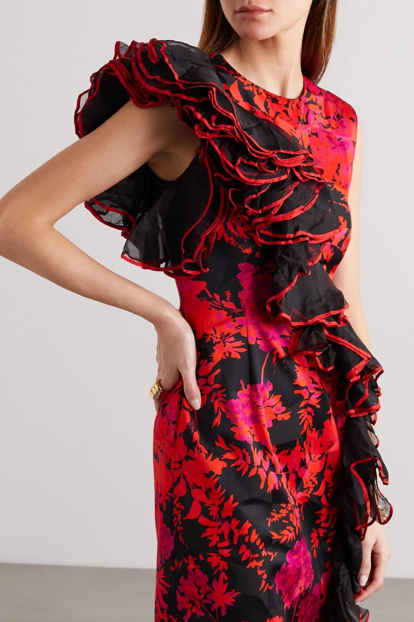 DRIES VAN NOTEN Durley Ruffled Organza-trimmed Floral-print Cotton-blend Midi Dress