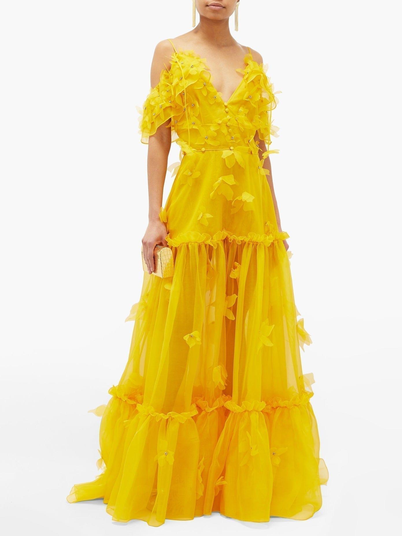 DUNDAS Floral-appliqué Tiered Silk-organza Gown
