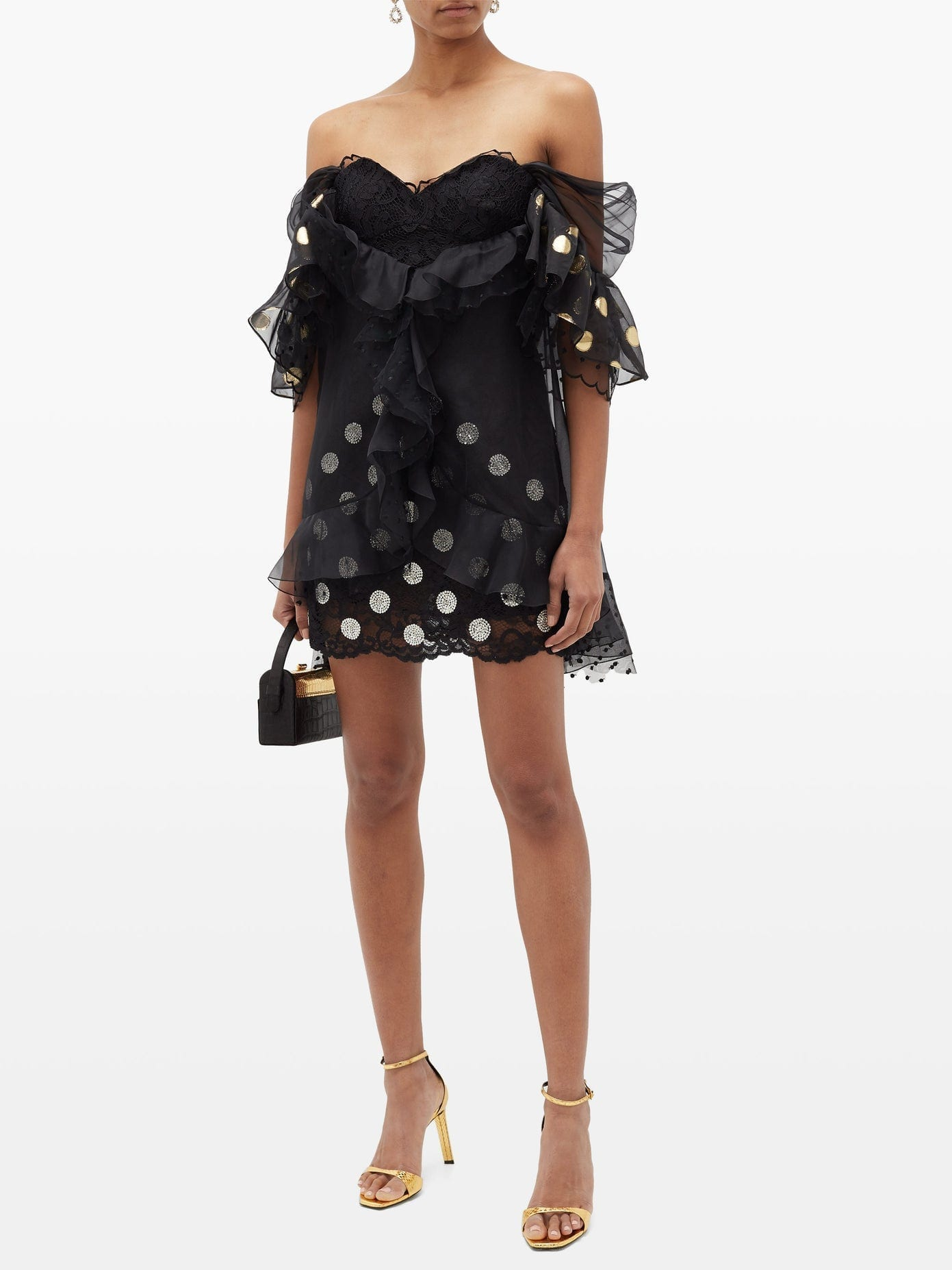 DUNDAS Ruffled Off-the-shoulder Lace Mini Dress