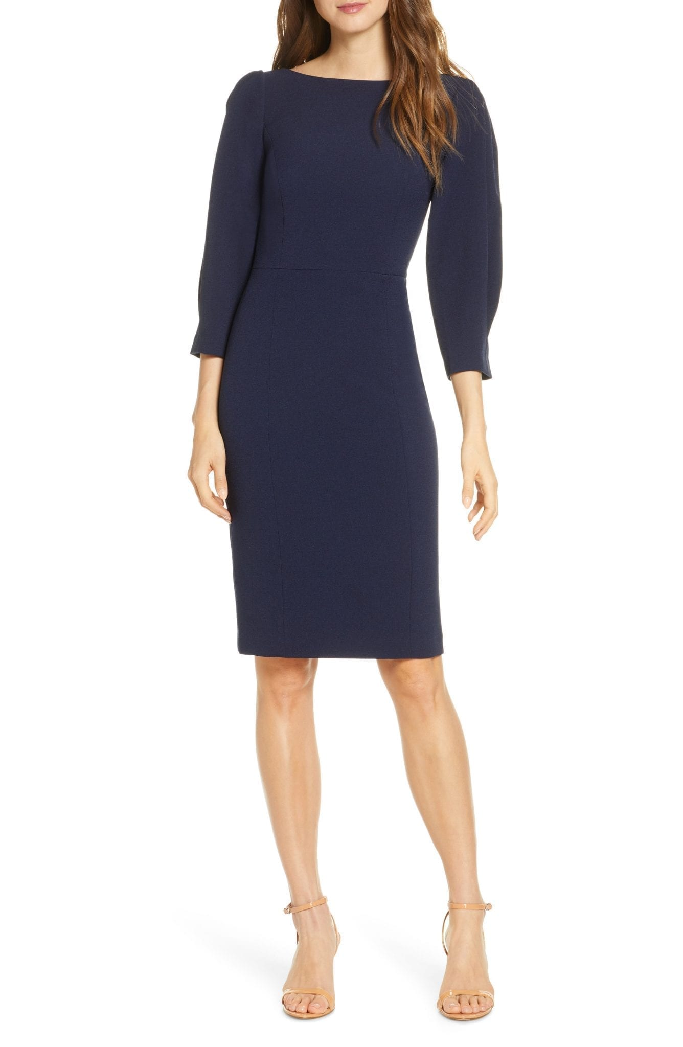ELIZA J Pleated Sleeve Sheath Dress