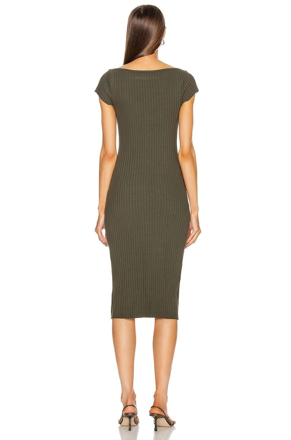 ENZA COSTA Rib Sweater Knit Soft V Cap Sleeve Midi Dress