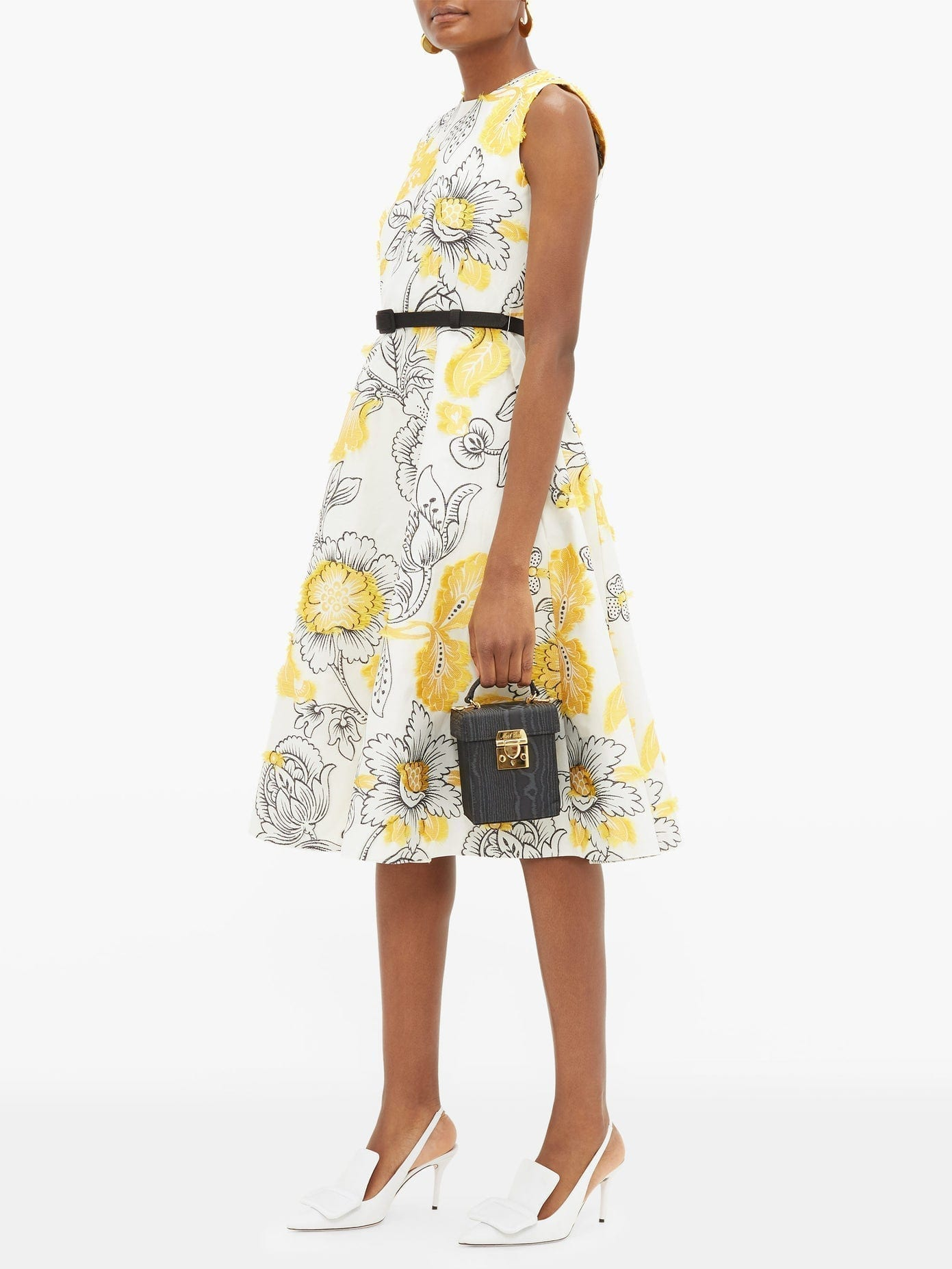ERDEM Farrah Belted Floral Fil-Coupé Dress