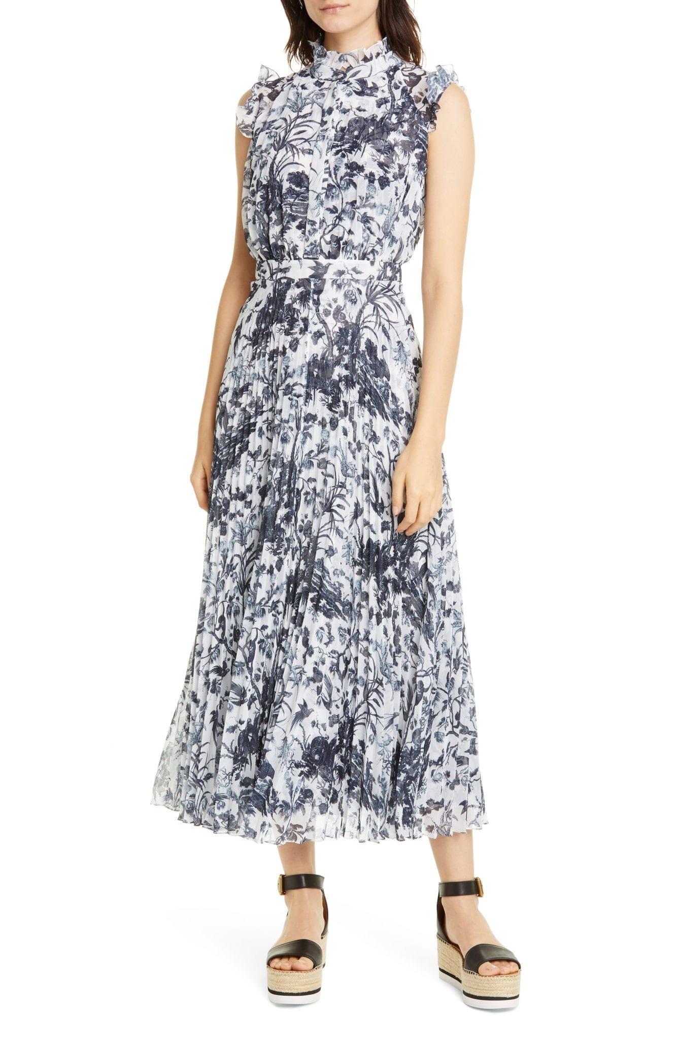 ERDEM Floral Ruffle Pleated Midi Dress