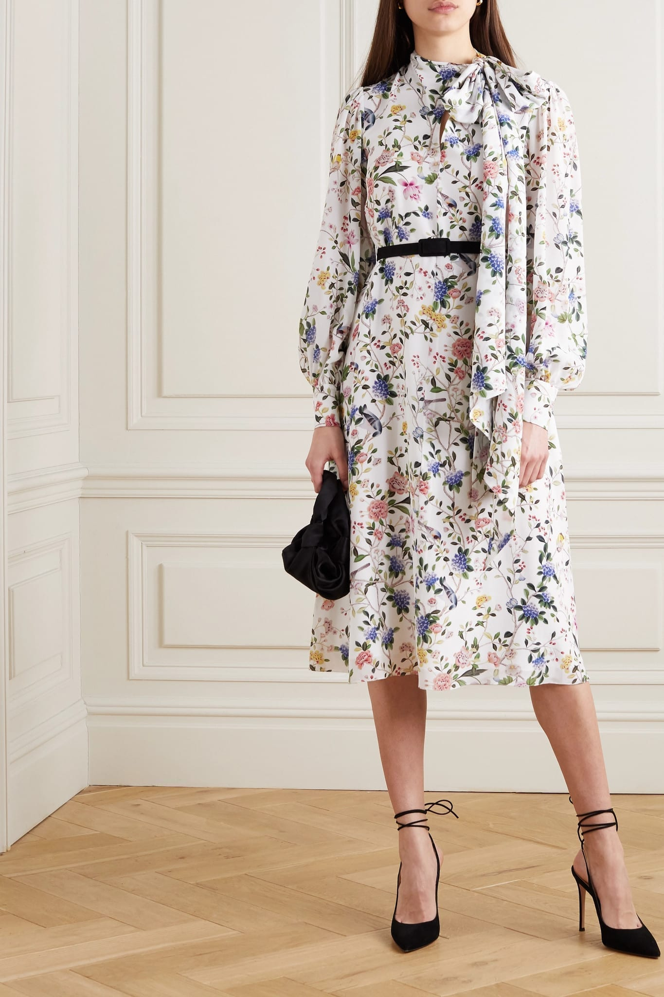 ERDEM Marceline Belted Pussy-bow Floral-print Silk Crepe De Chine Midi Dress