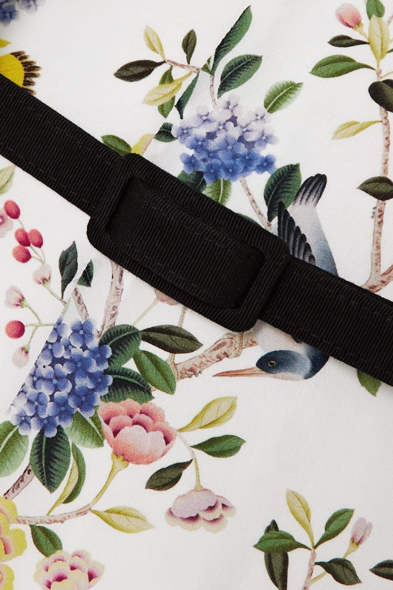 ERDEM Marceline Belted Pussy-bow Floral-print Silk Crepe De Chine Midi Dress