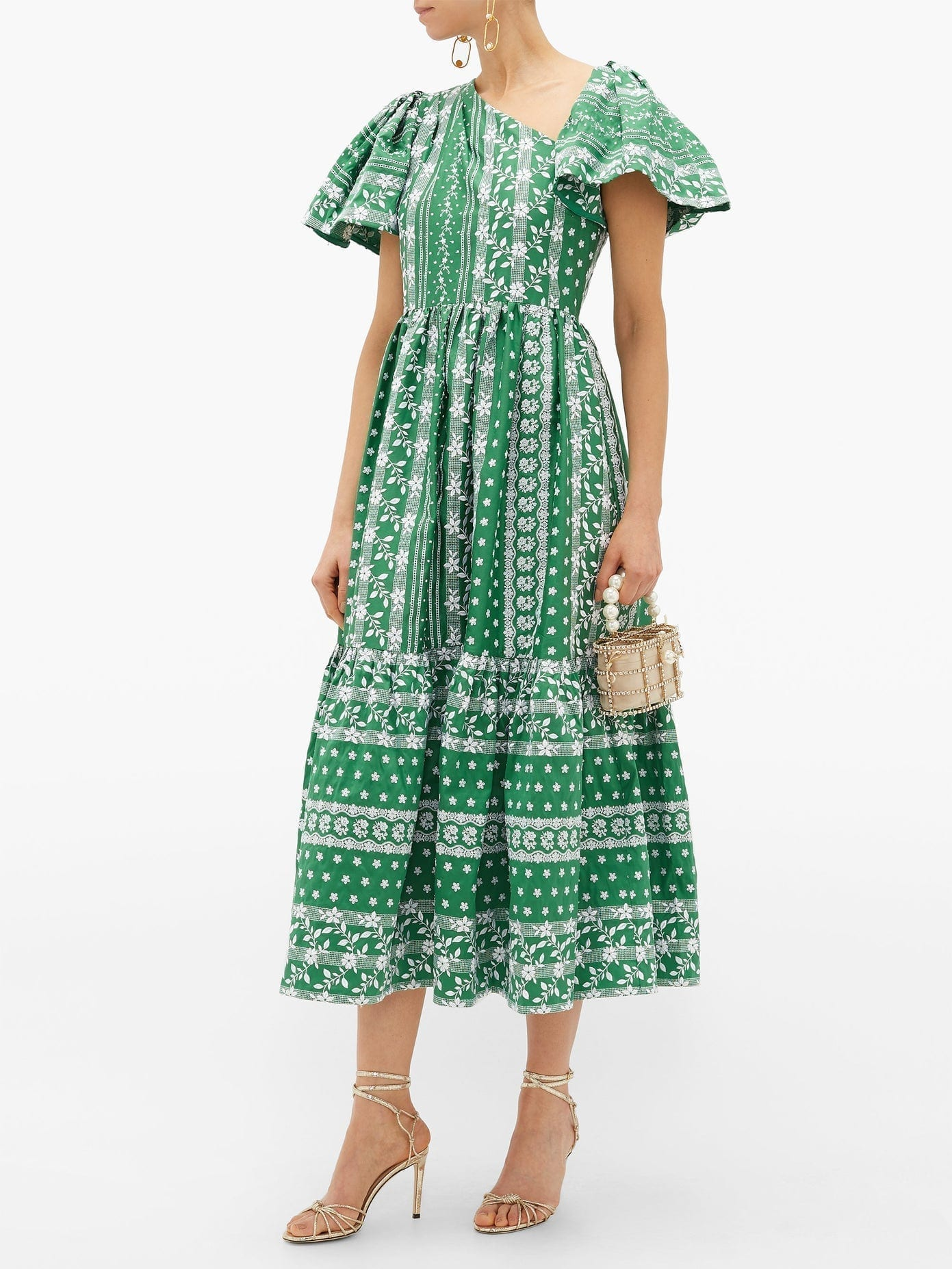ERDEM Palomina Floral-embroidered Cotton-poplin Dress