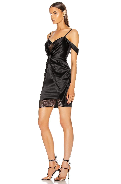 FLEUR DU MAL Silk Mesh Draped Slip Dress