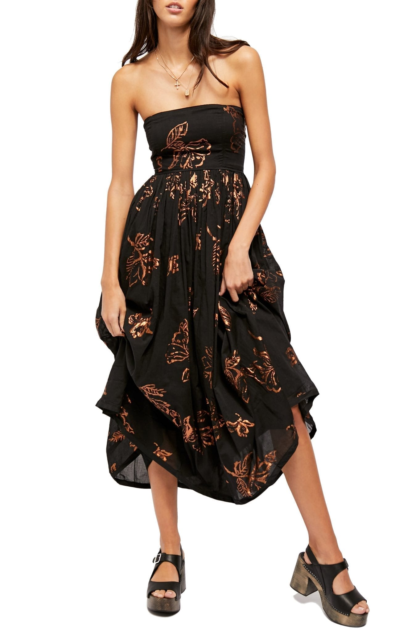 FREE PEOPLE Baja Babe Strapless Midi Dress