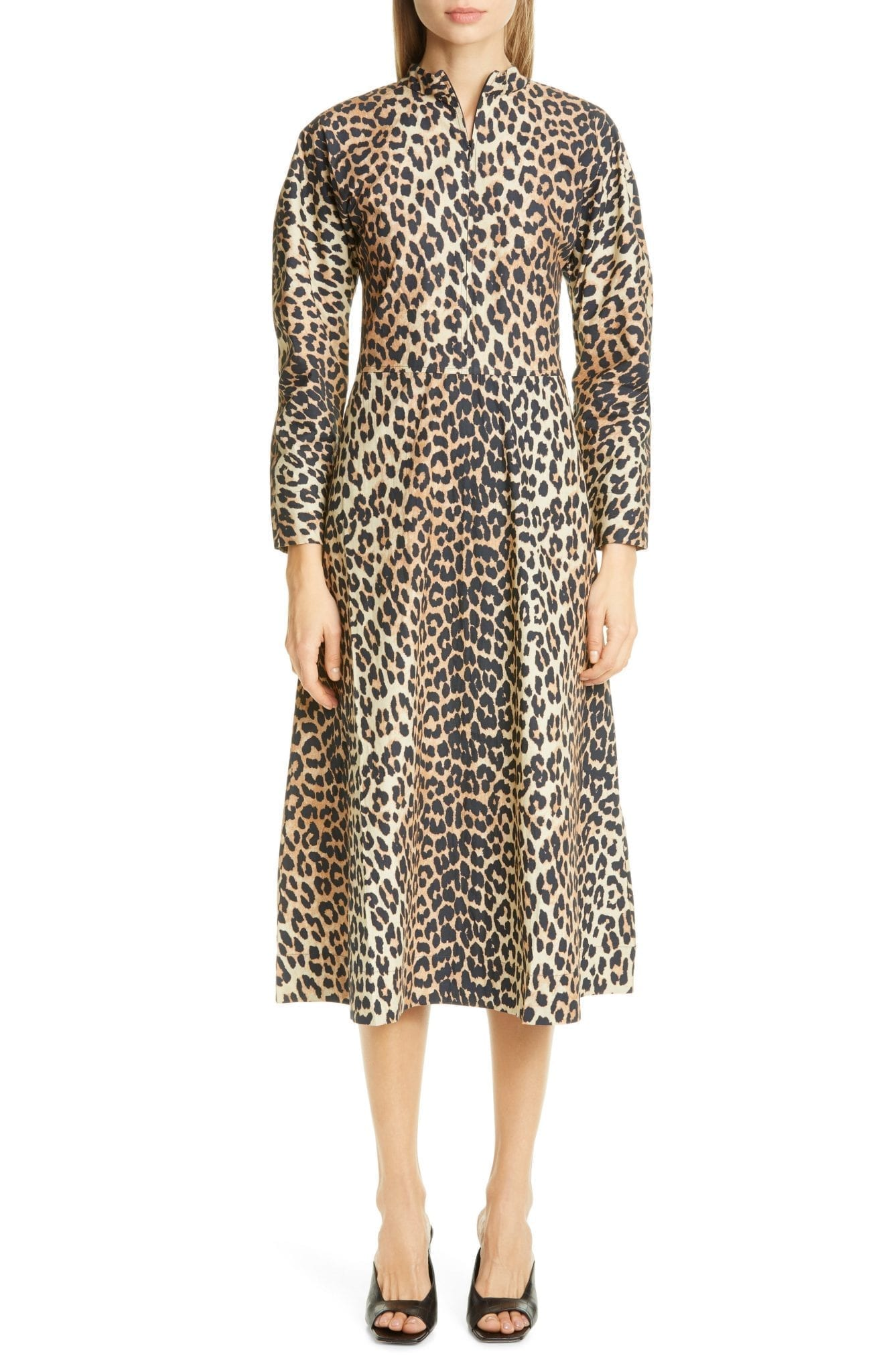 GANNI Leopard Print Long Sleeve Poplin Midi Dress