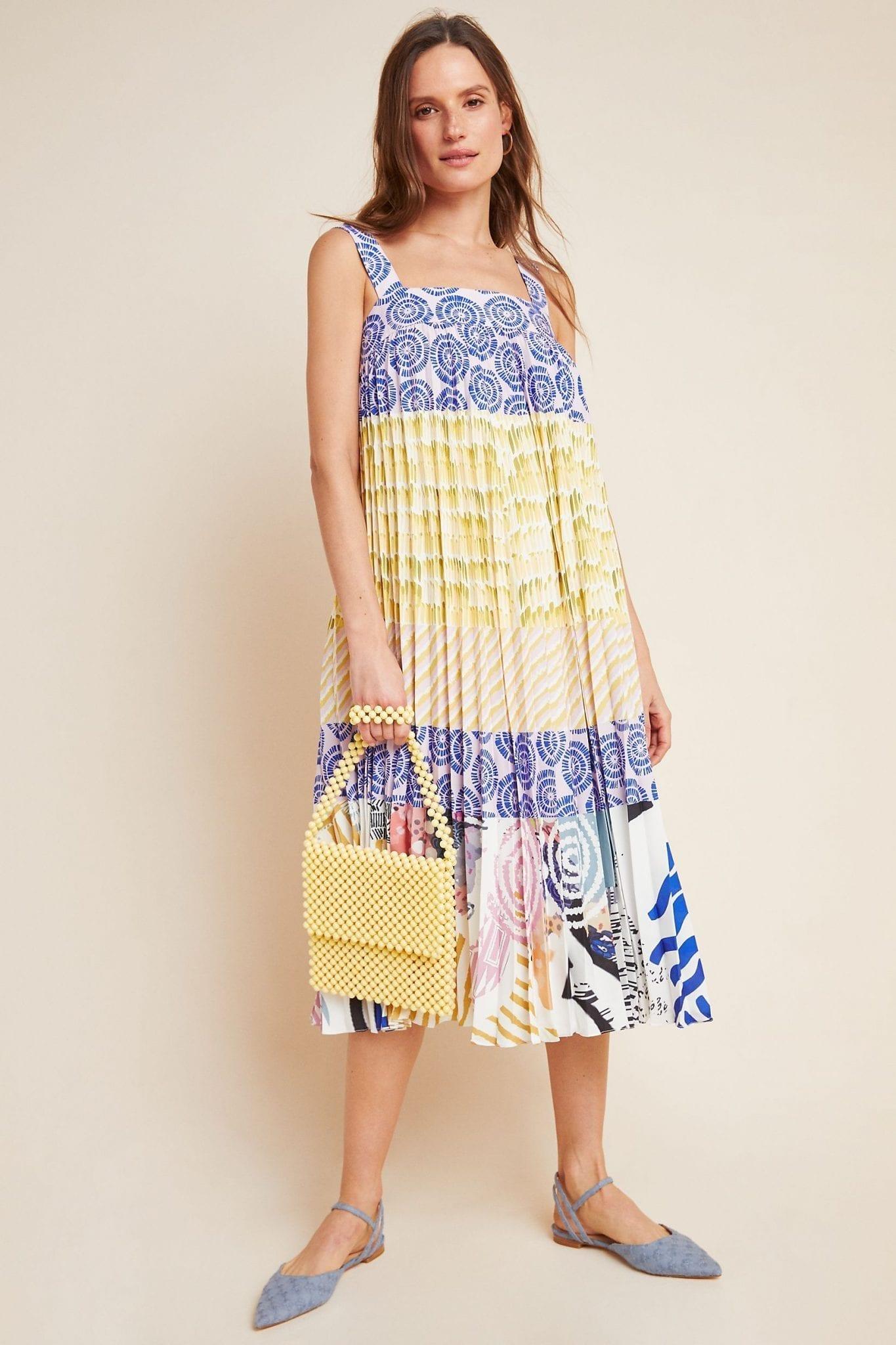 GEISHA DESIGNS Charleston Pleated Midi Dress