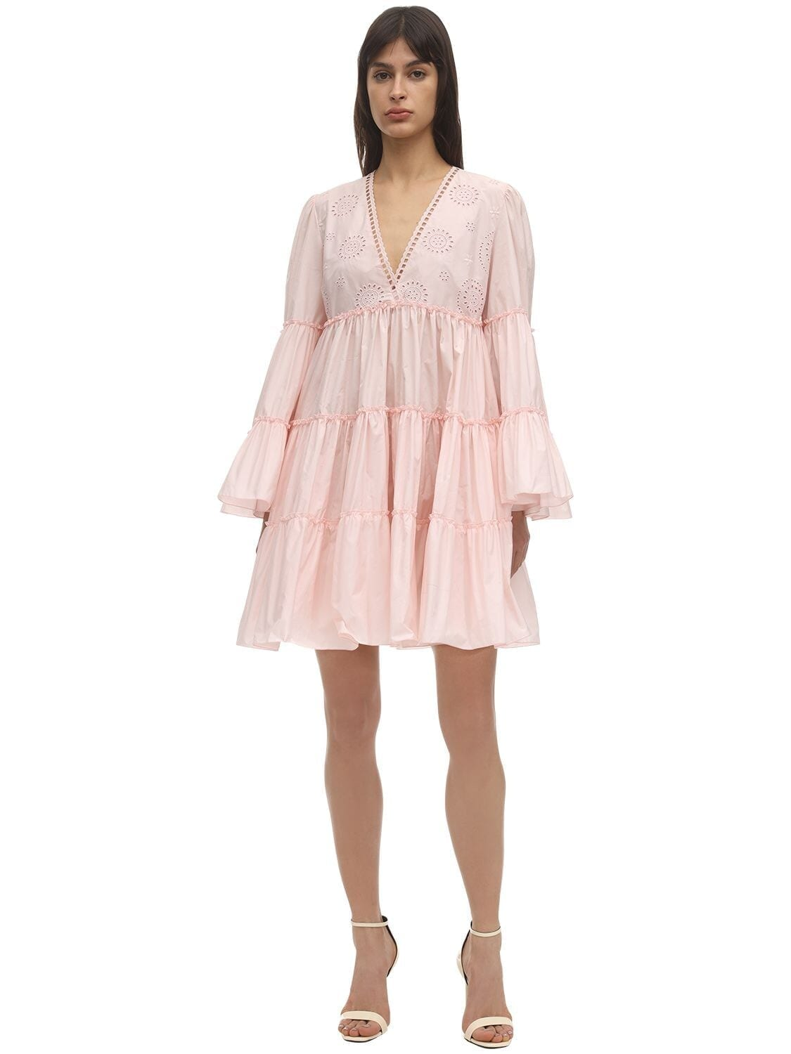 GIAMBA Eyelet Lace Taffeta Mini Dress