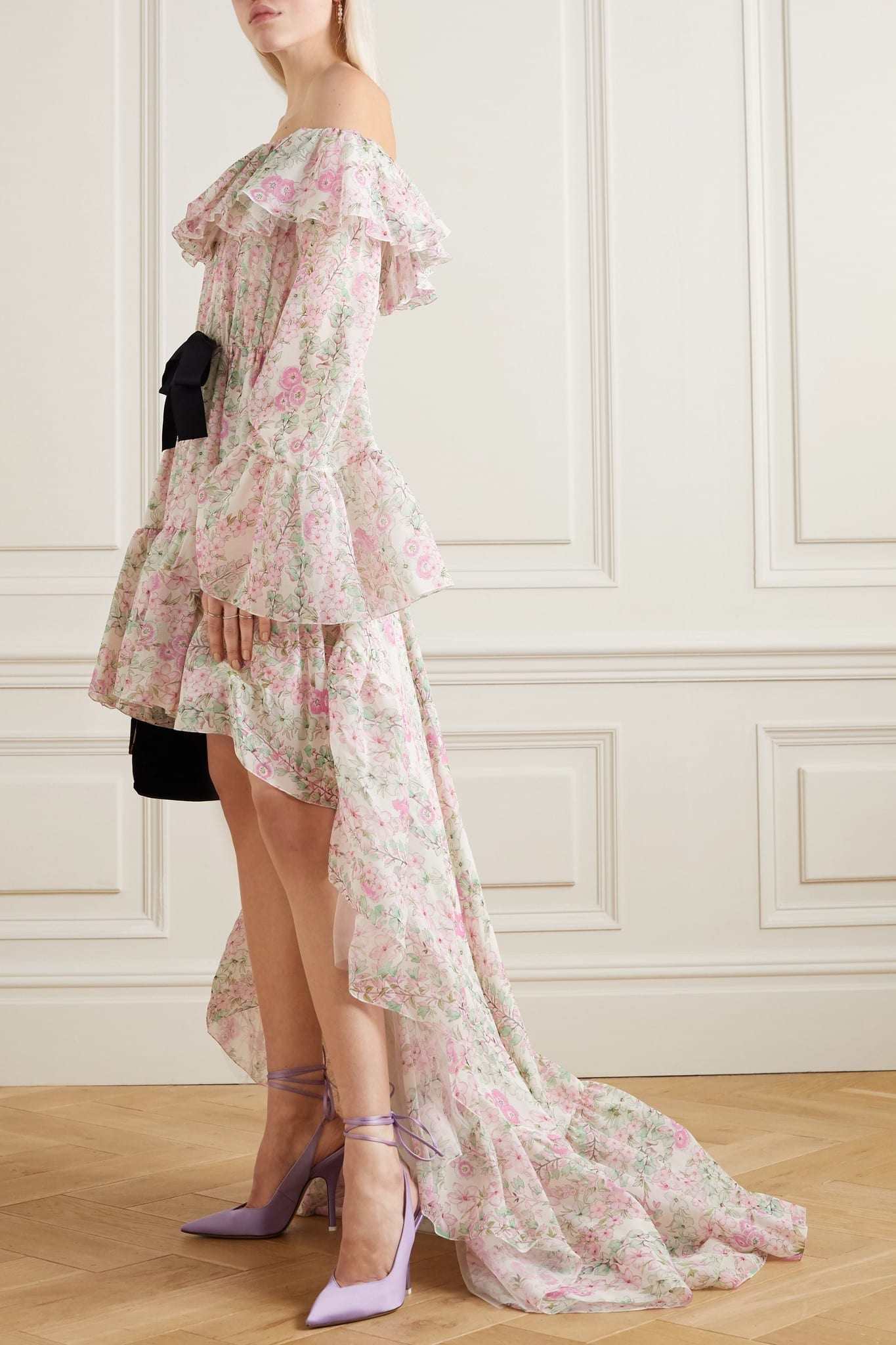 GIAMBATTISTA VALLI Asymmetric Bow-embellished Ruffled Floral-print Silk-chiffon Dress