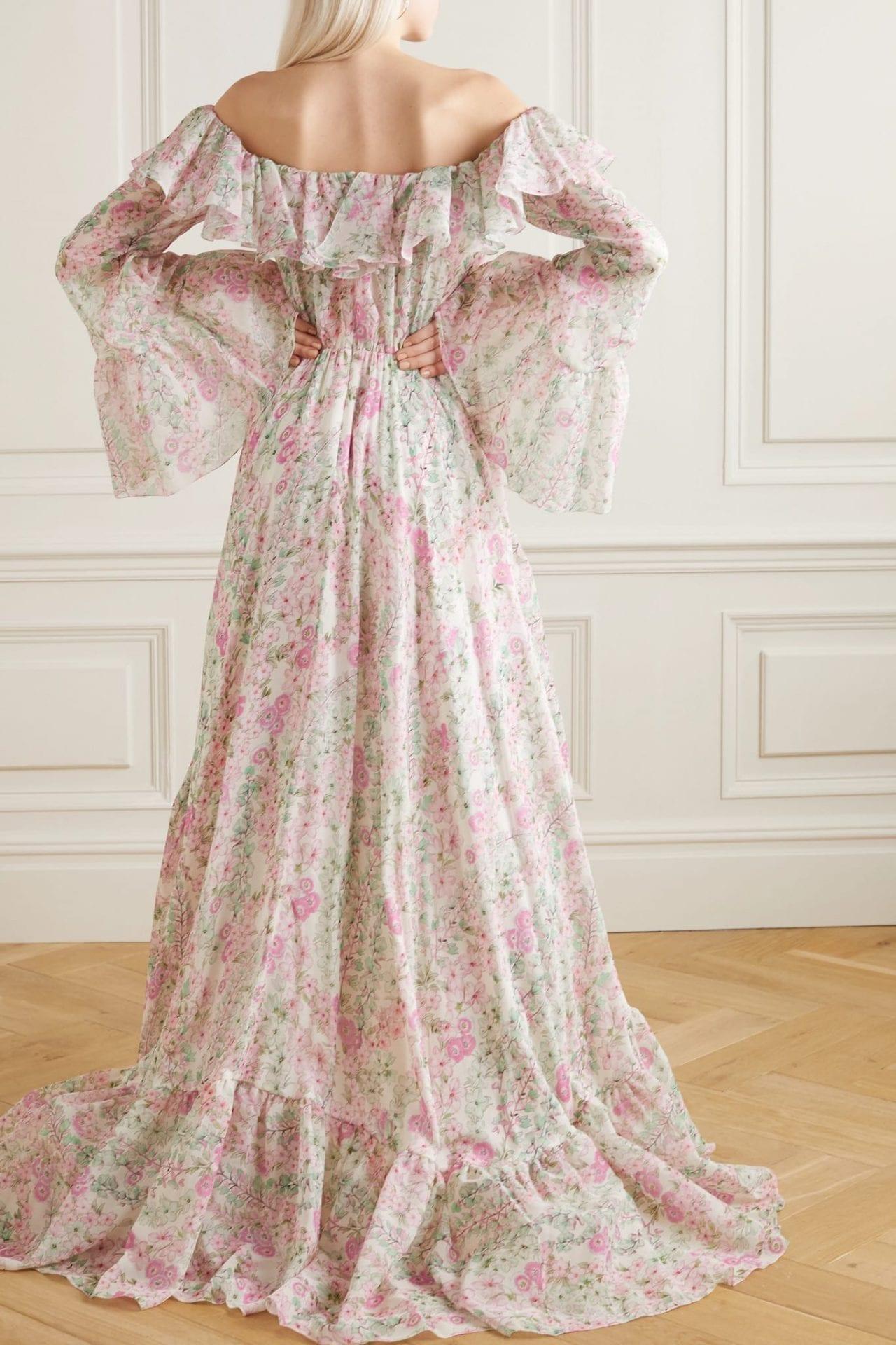 GIAMBATTISTA VALLI Asymmetric Bow-embellished Ruffled Floral-print Silk-chiffon Dress