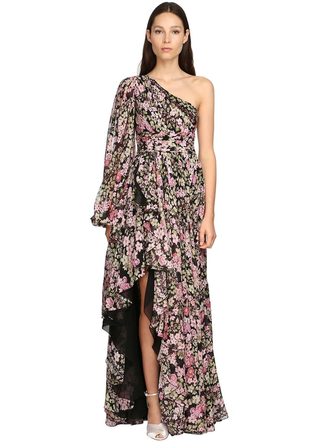 GIAMBATTISTA VALLI Flower Print Silk Georgette Dress