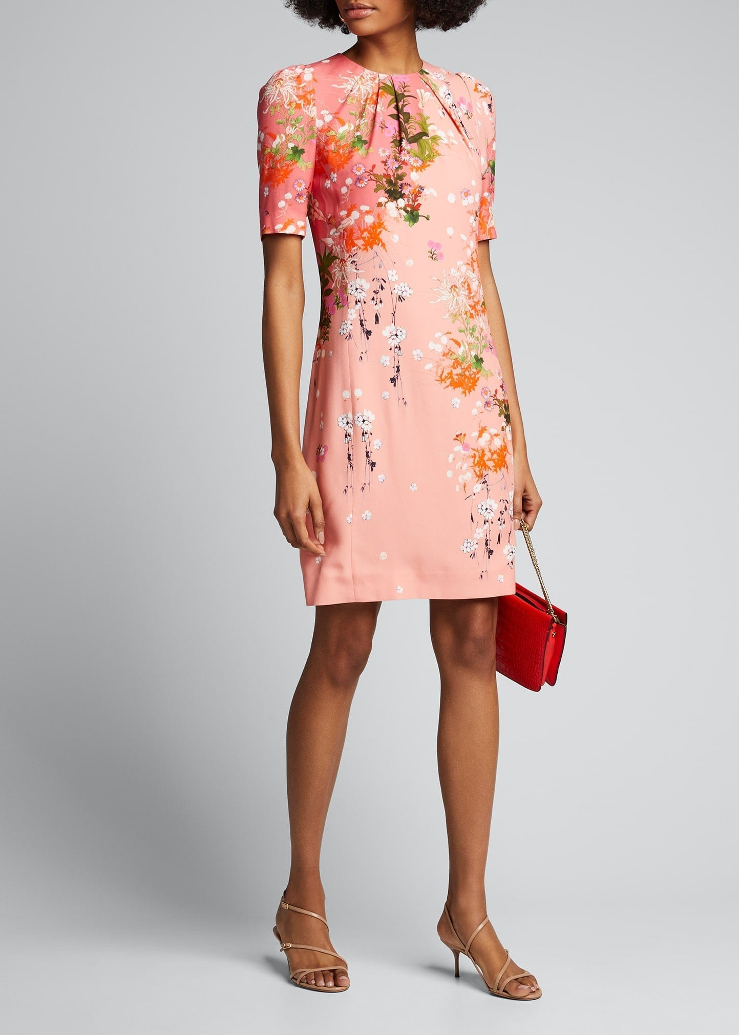 GIVENCHY Spring Aroma Printed Crepe Satin Sheath Dress