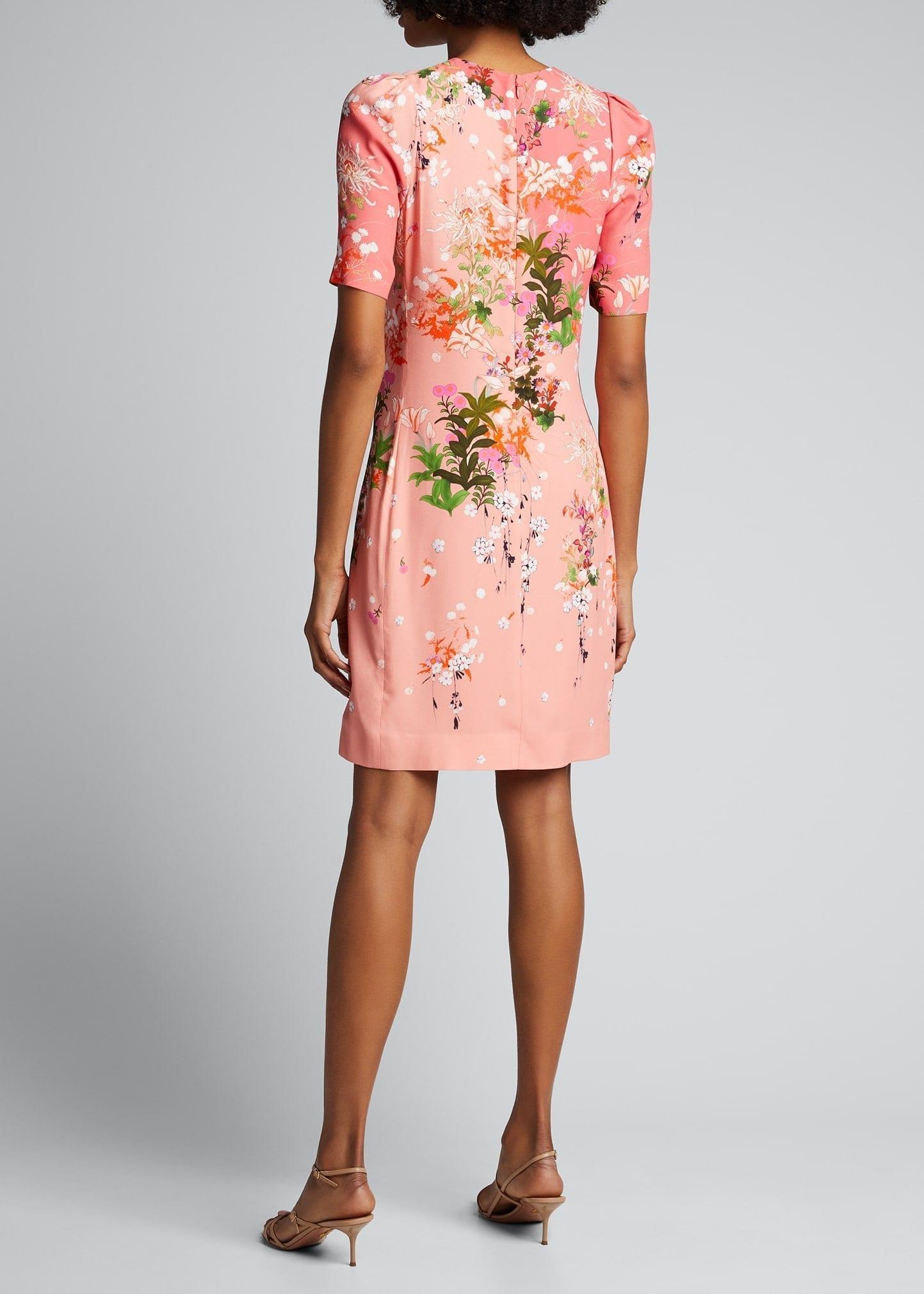GIVENCHY Spring Aroma Printed Crepe Satin Sheath Dress