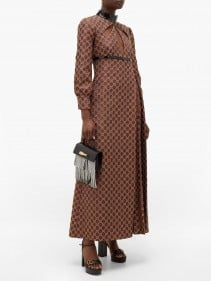 GUCCI Cutout Gg-jacquard And Lurex Cotton-blend Dress
