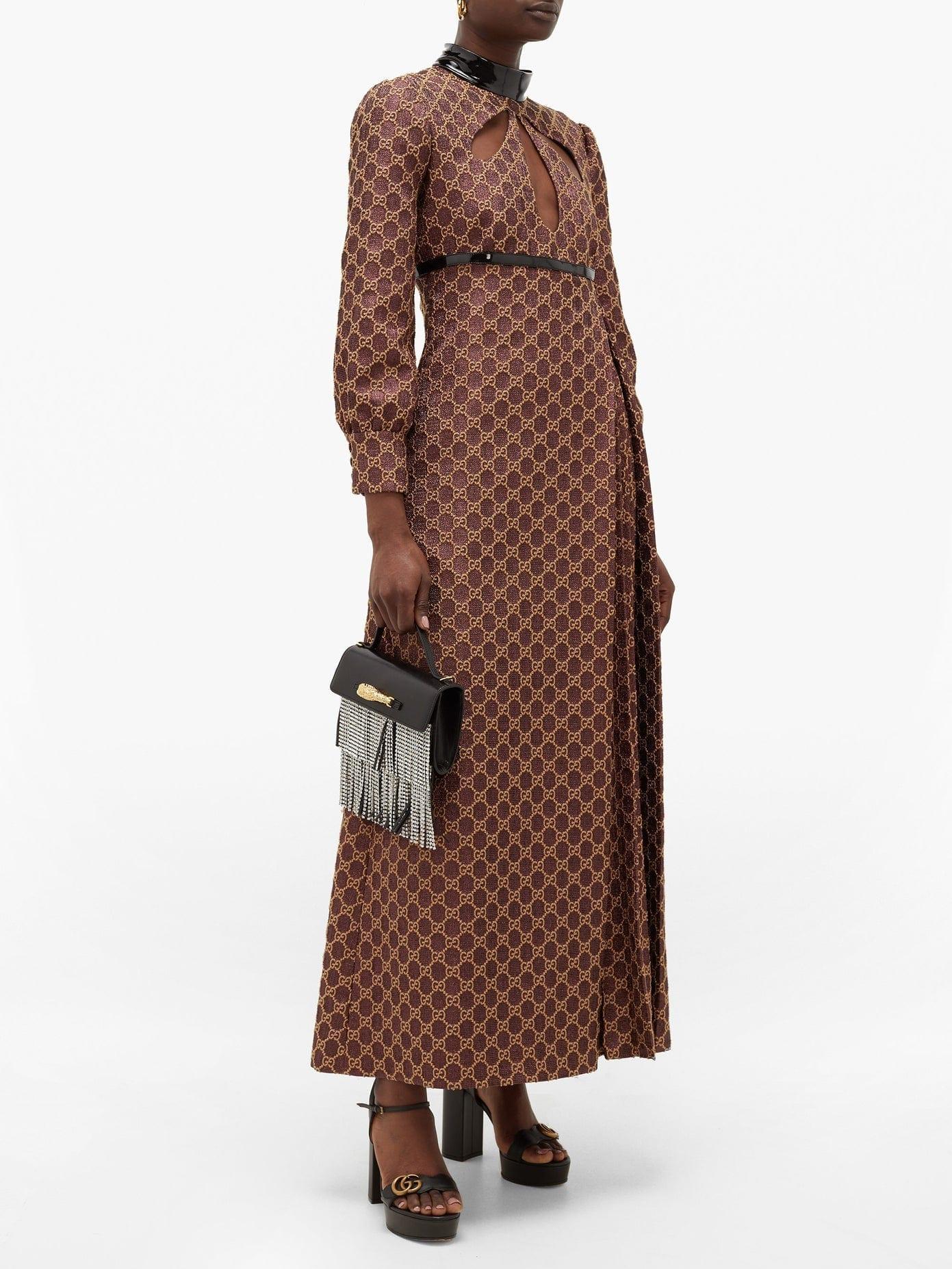 GUCCI Cutout Gg-jacquard And Lurex Cotton-blend Dress