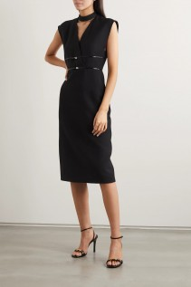 GUCCI Embellished Patent Leather-trimmed Silk And Wool-blend Midi Dress