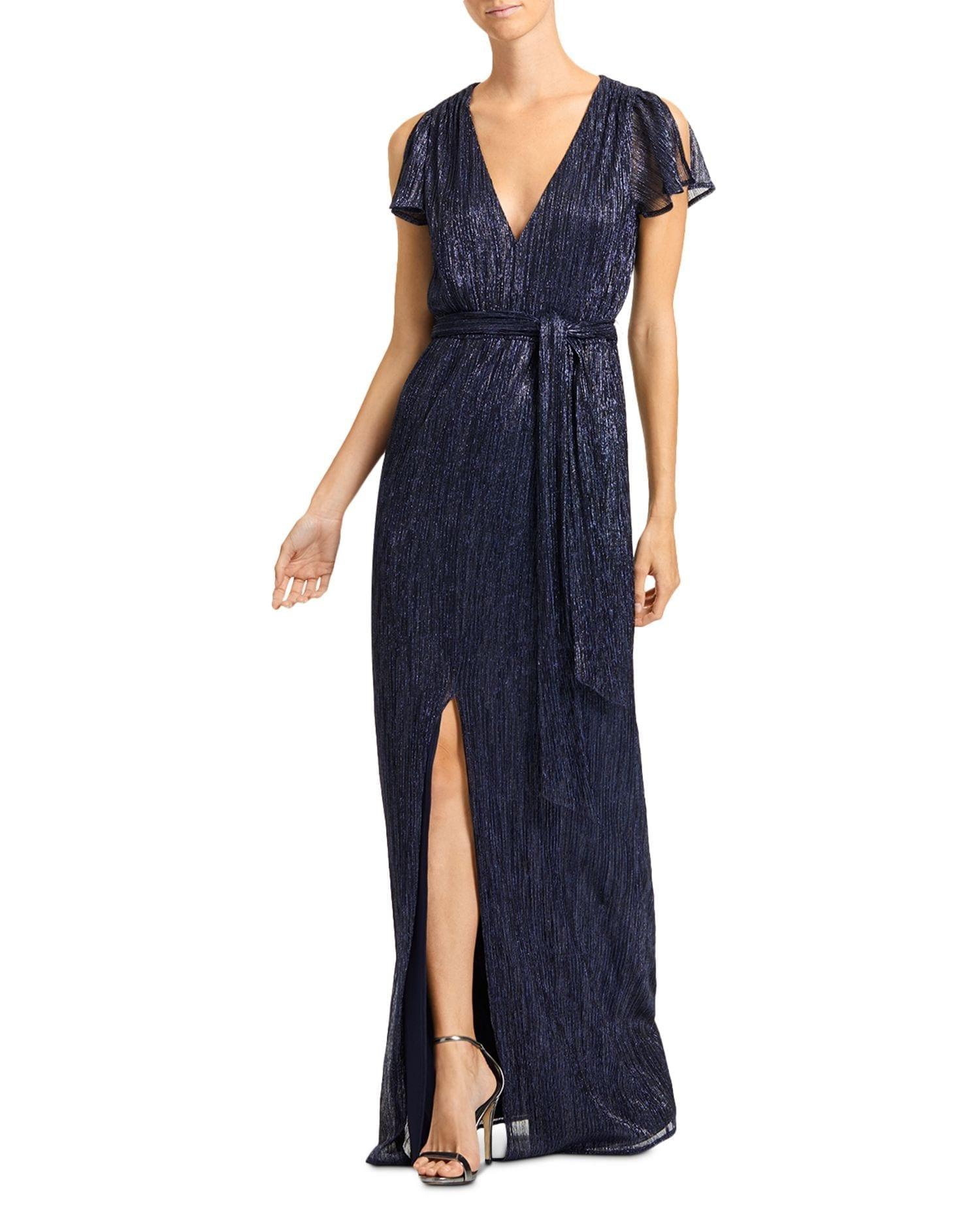 HALSTON Metallic Jersey Gown
