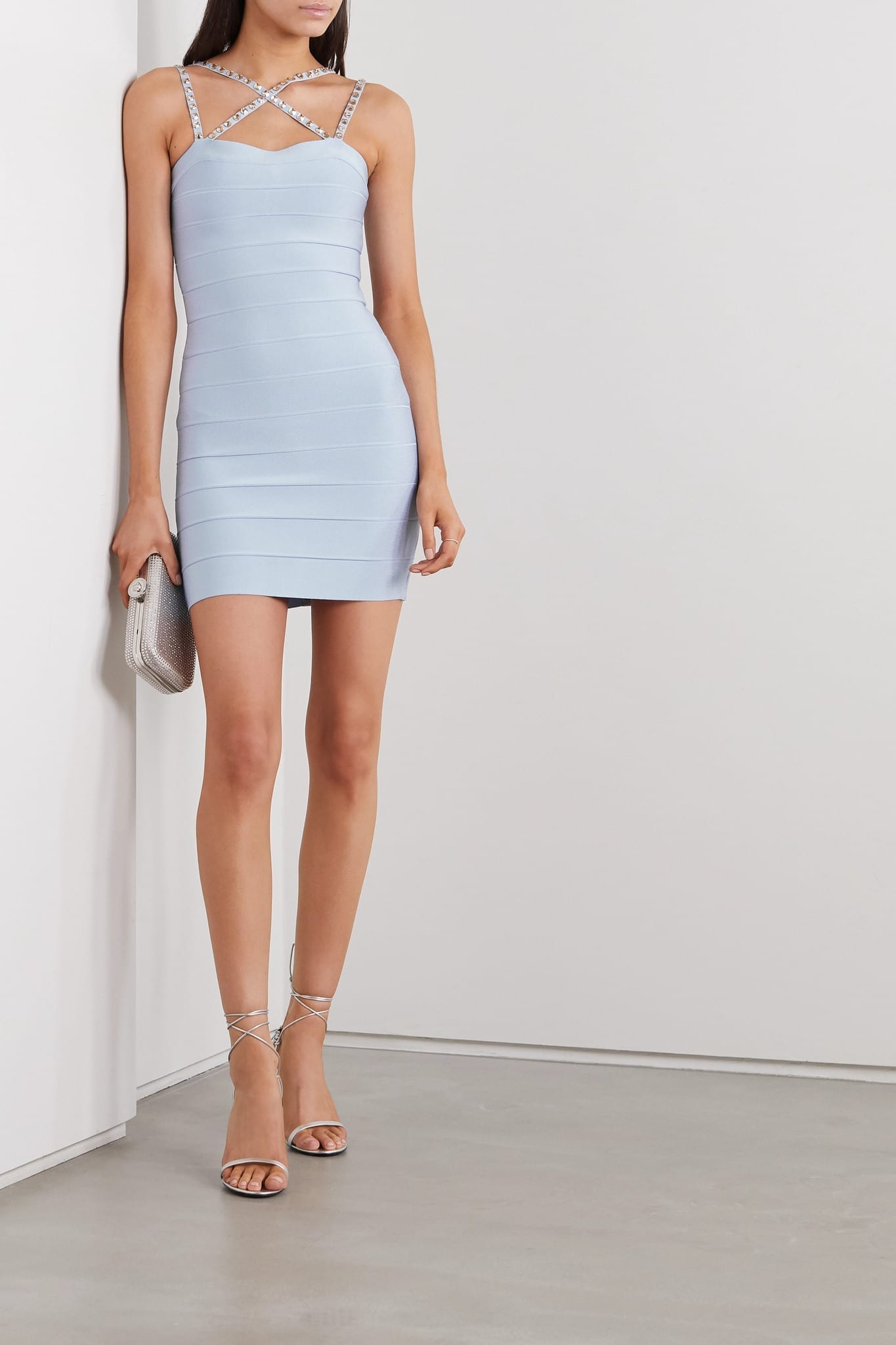 HERVÉ LÉGER Swarovski Crystal-embellished Bandage Mini Dress