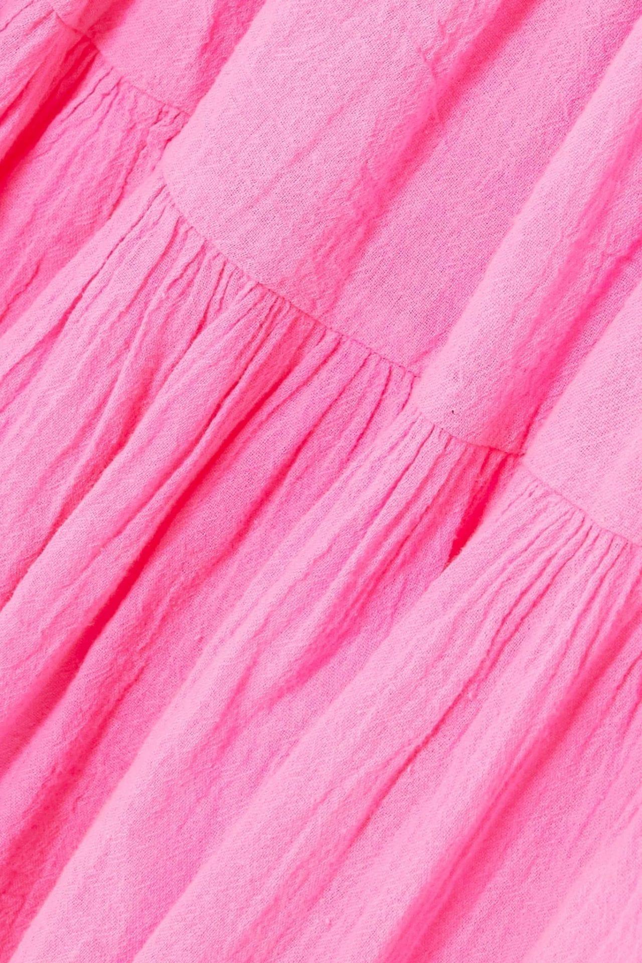 HONORINE Peri Tiered Neon Crinkled Cotton-gauze Mini Dress