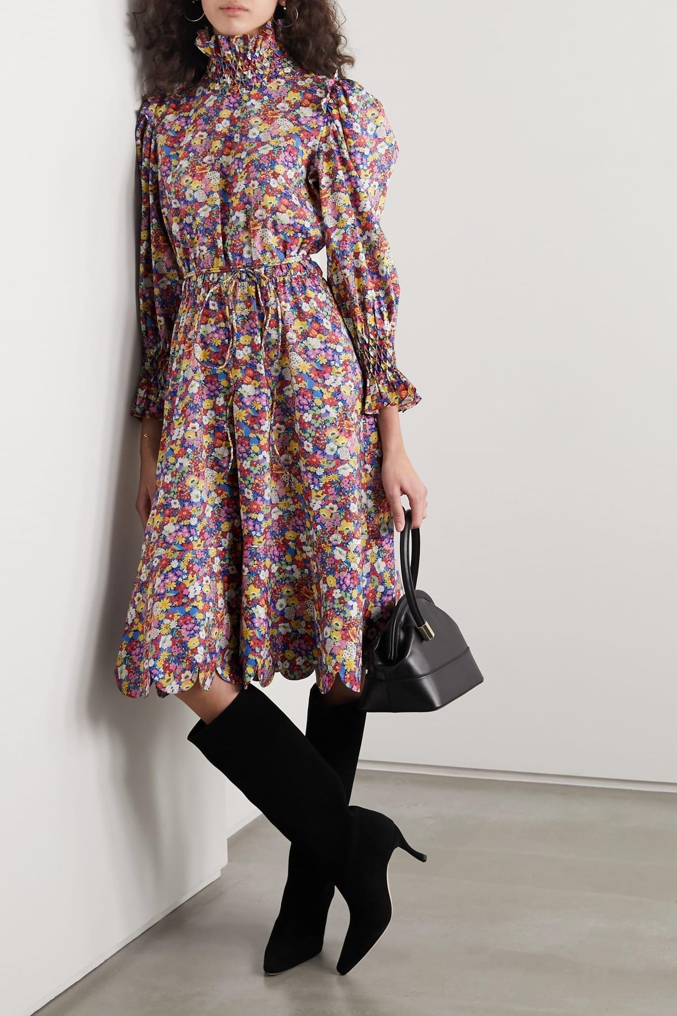 HORROR VACUI Collia Scalloped Floral-print Cotton-poplin Dress
