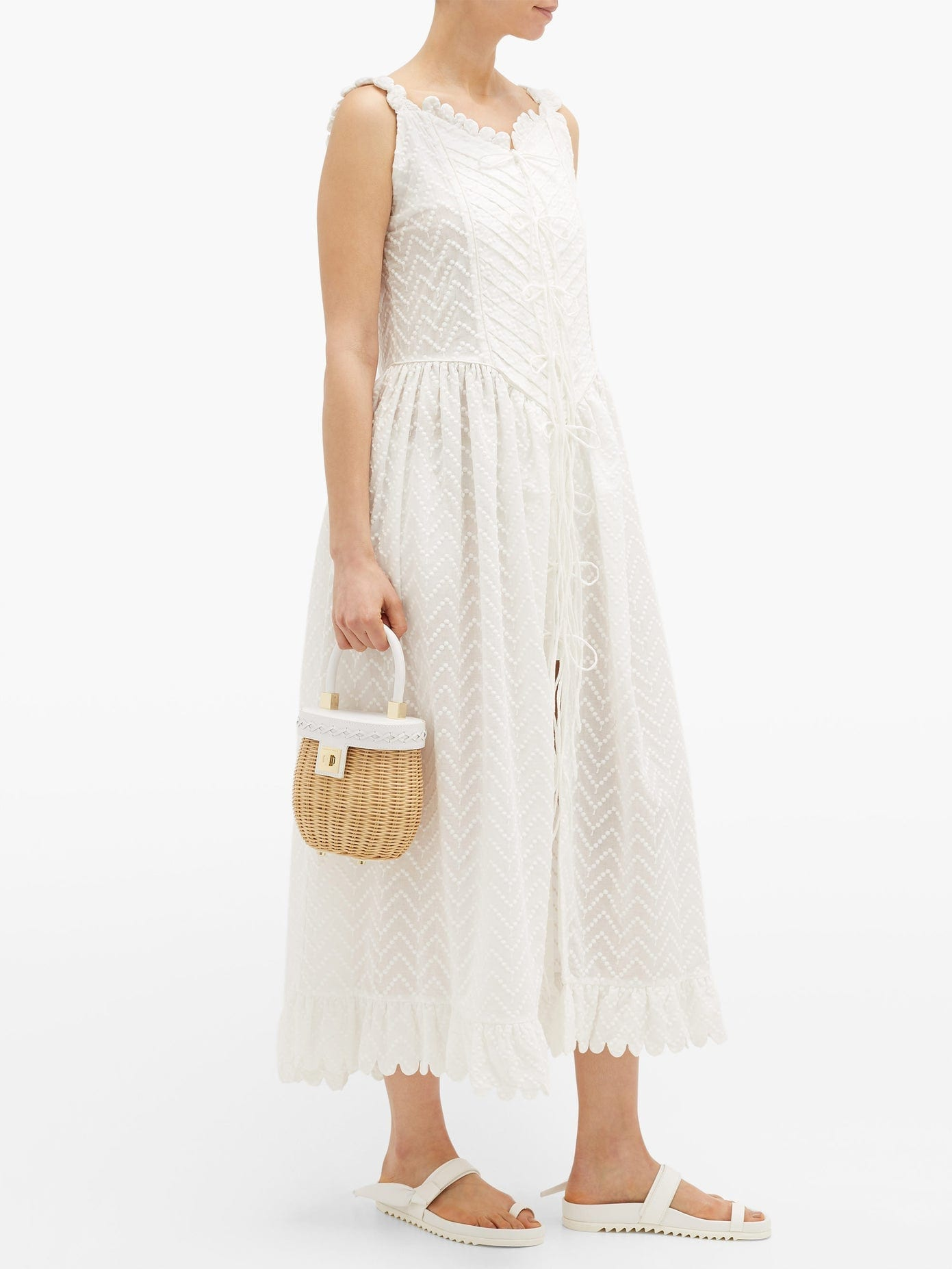 HORROR VACUI Valentin Lace-up Embroidered-cotton Midi Dress