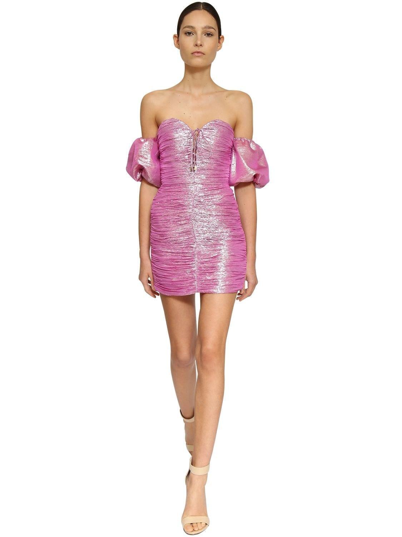 INGIE PARIS Off-the-shoulder Silk Mini Dress