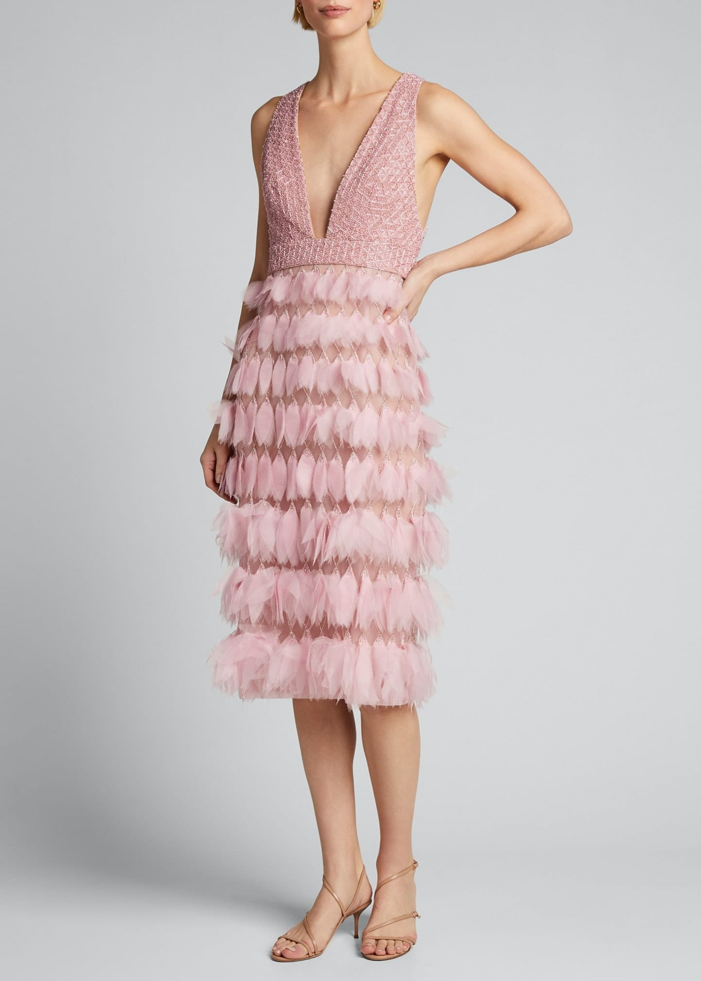 J. MENDEL Organza-Feather Embroidered Sheath Dress