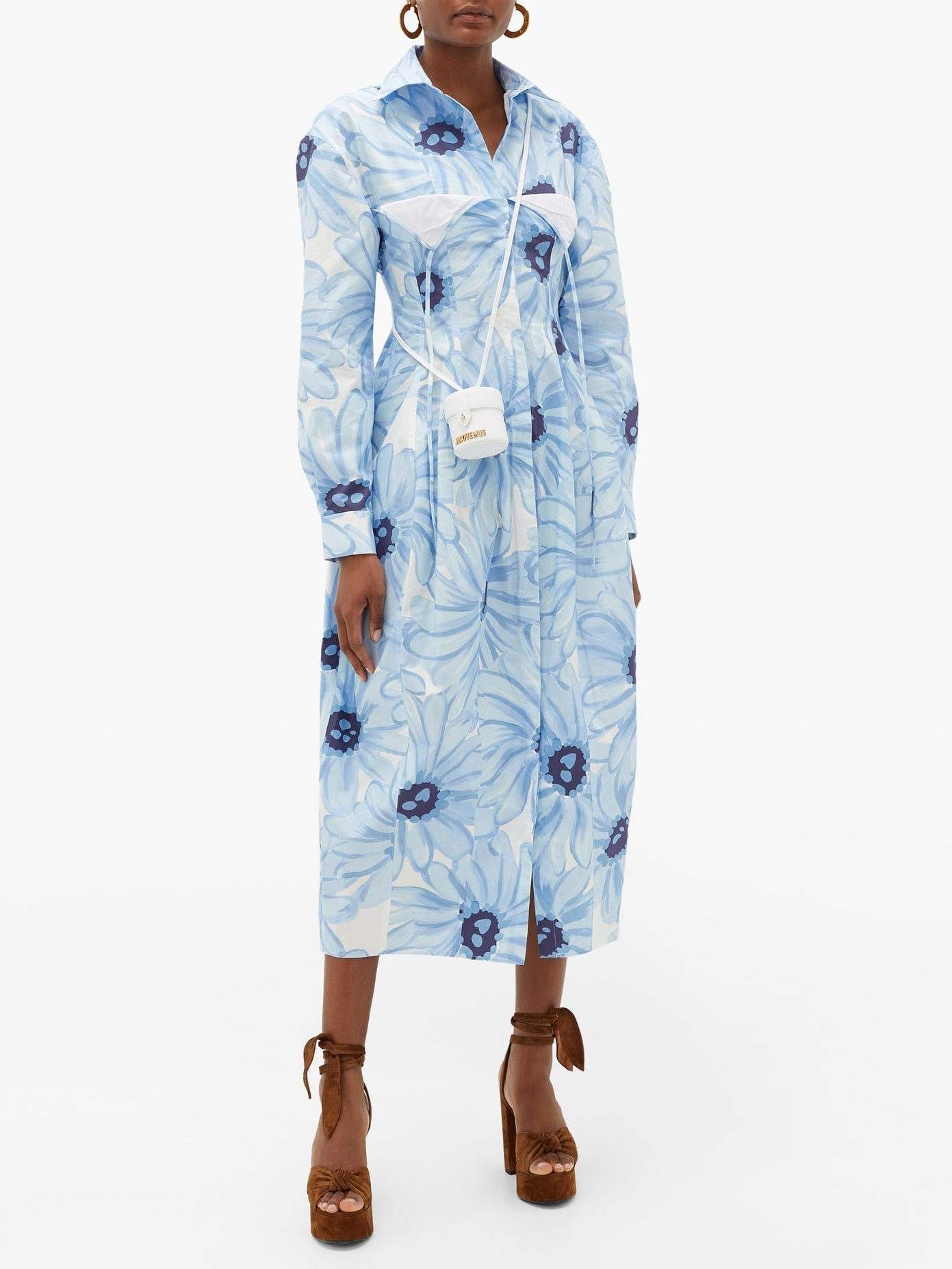 JACQUEMUS Valensole Floral-print Cotton-poplin Shirt Dress