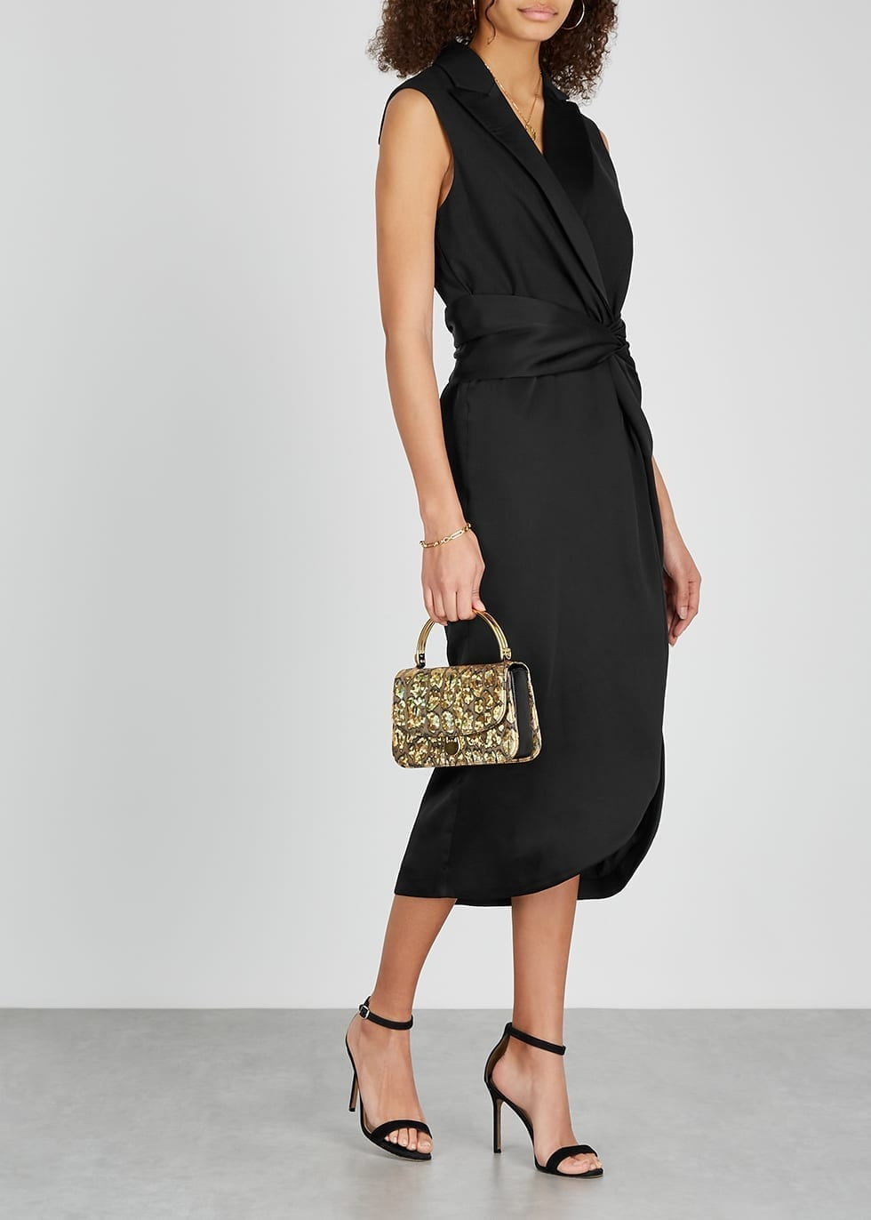 JONATHAN SIMKHAI Black Twist-effect Satin Midi Dress