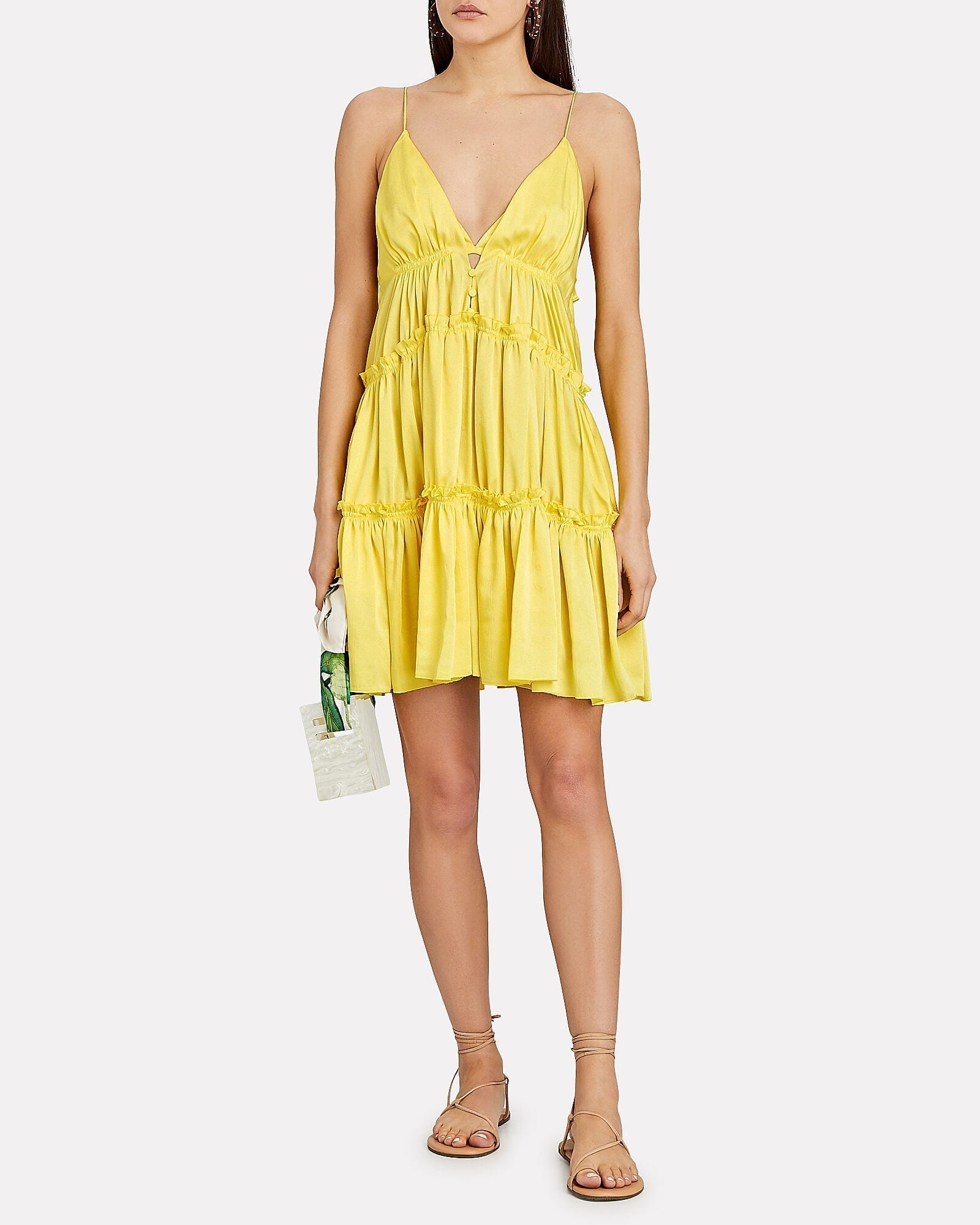JONATHAN SIMKHAI Isla Tiered Satin Mini Dress