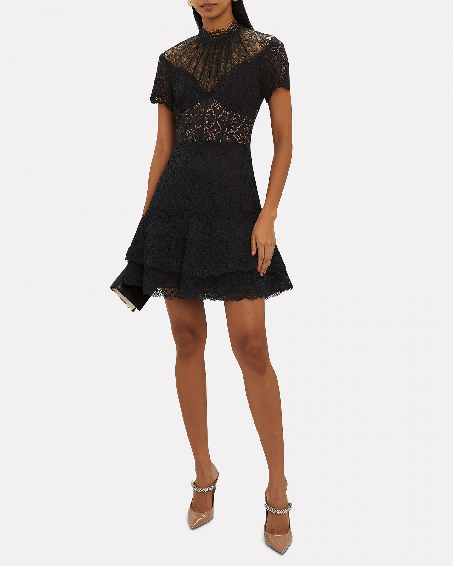 JONATHAN SIMKHAI Mixed Lace Bustier Mini Dress
