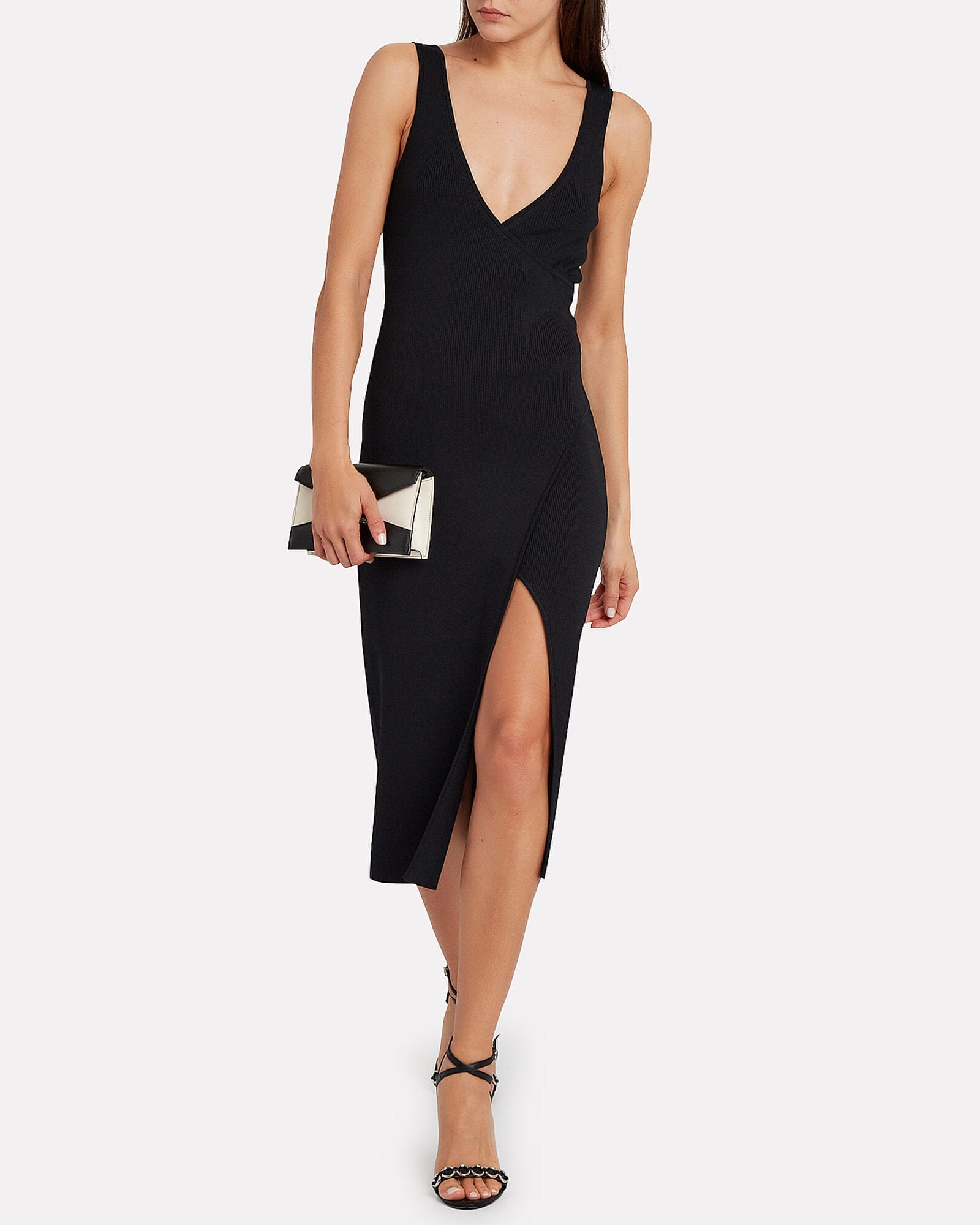 JONATHAN SIMKHAI Rib Knit Wrap Dress