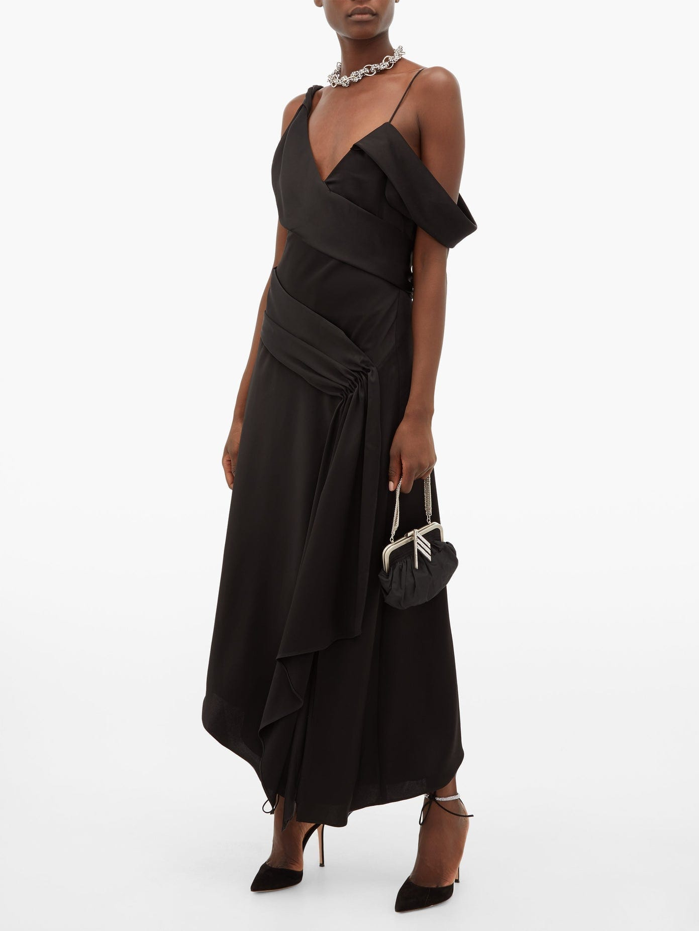 JONATHAN SIMKHAI Satin Asymmetric Draped Midi Dress