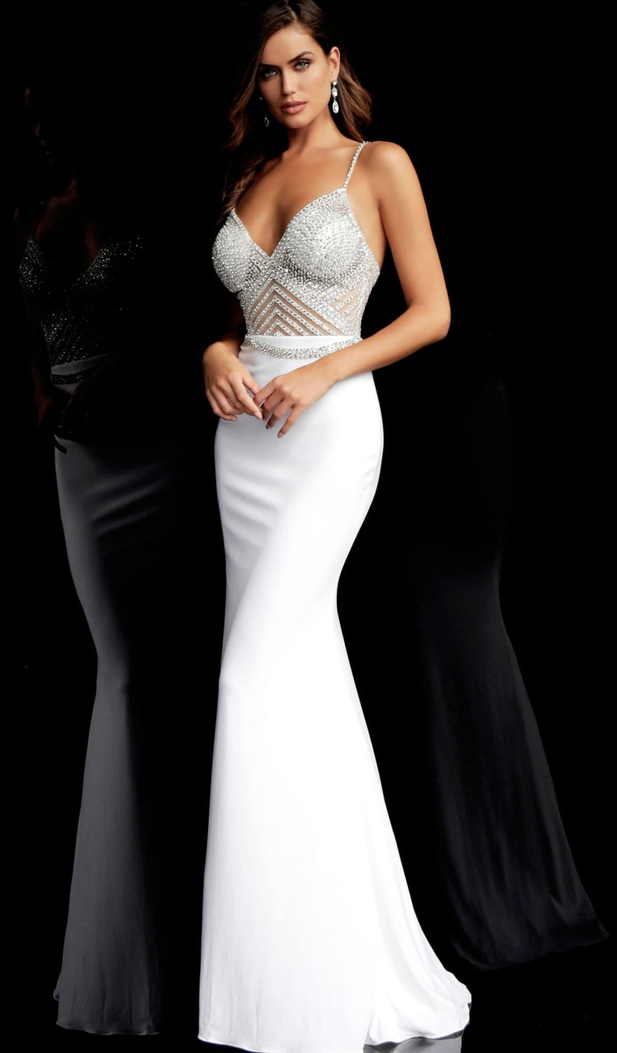 JOVANI - 63147 Geometric Crystal Beaded Illusion Gown