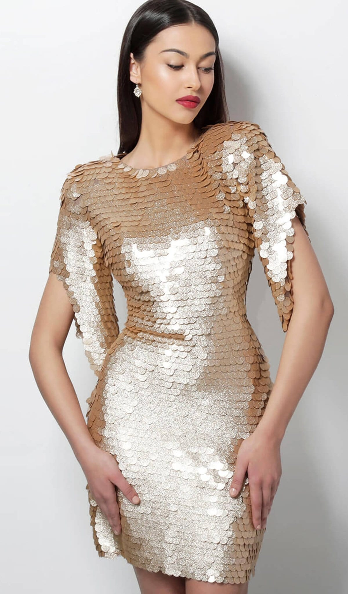 JOVANI - 64601 Gold Paillette Cutout Back Fitted Cocktail Dress