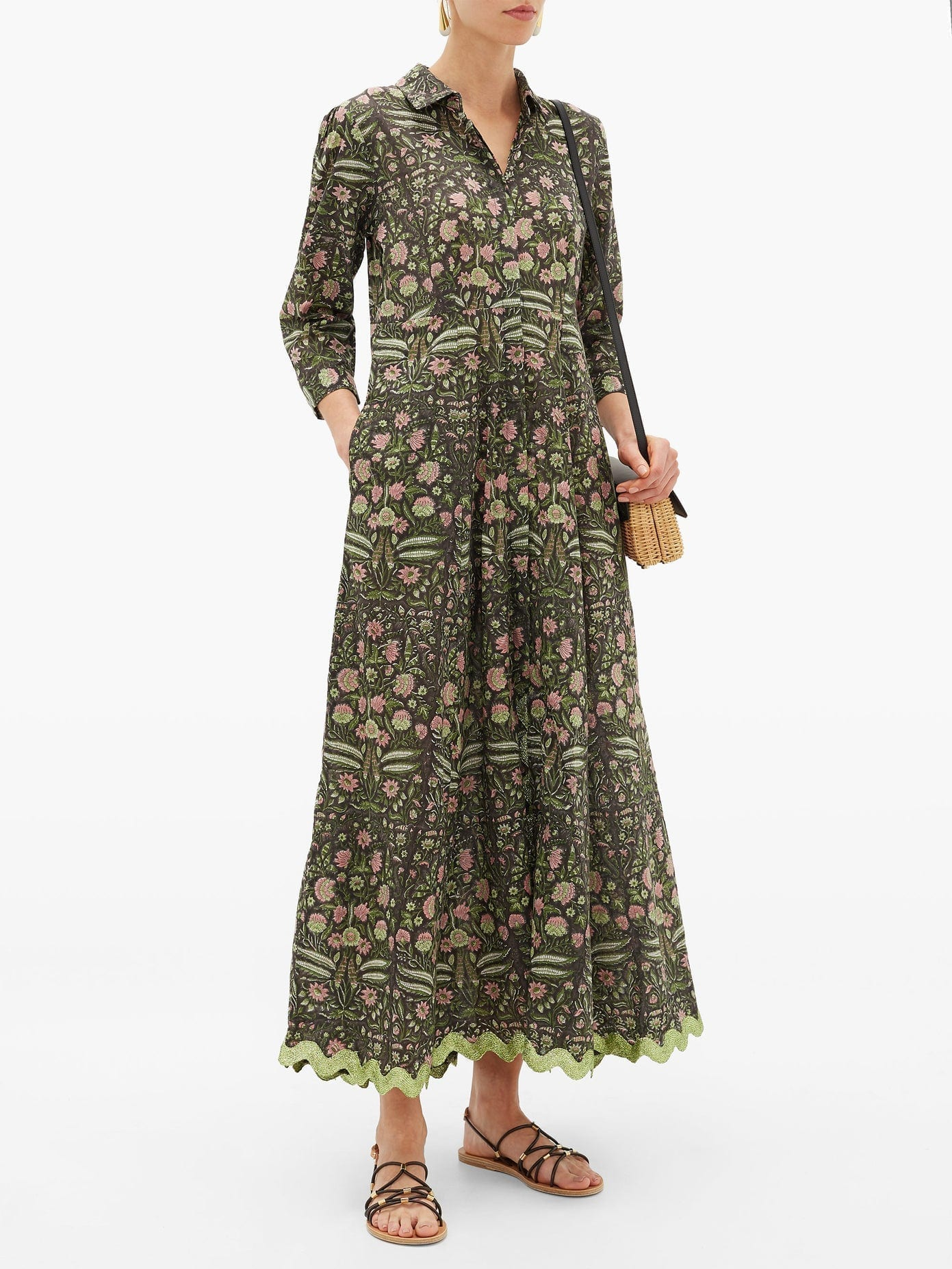 JULIET DUNN Floral-print Metallic-trim Cotton Shirt Dress