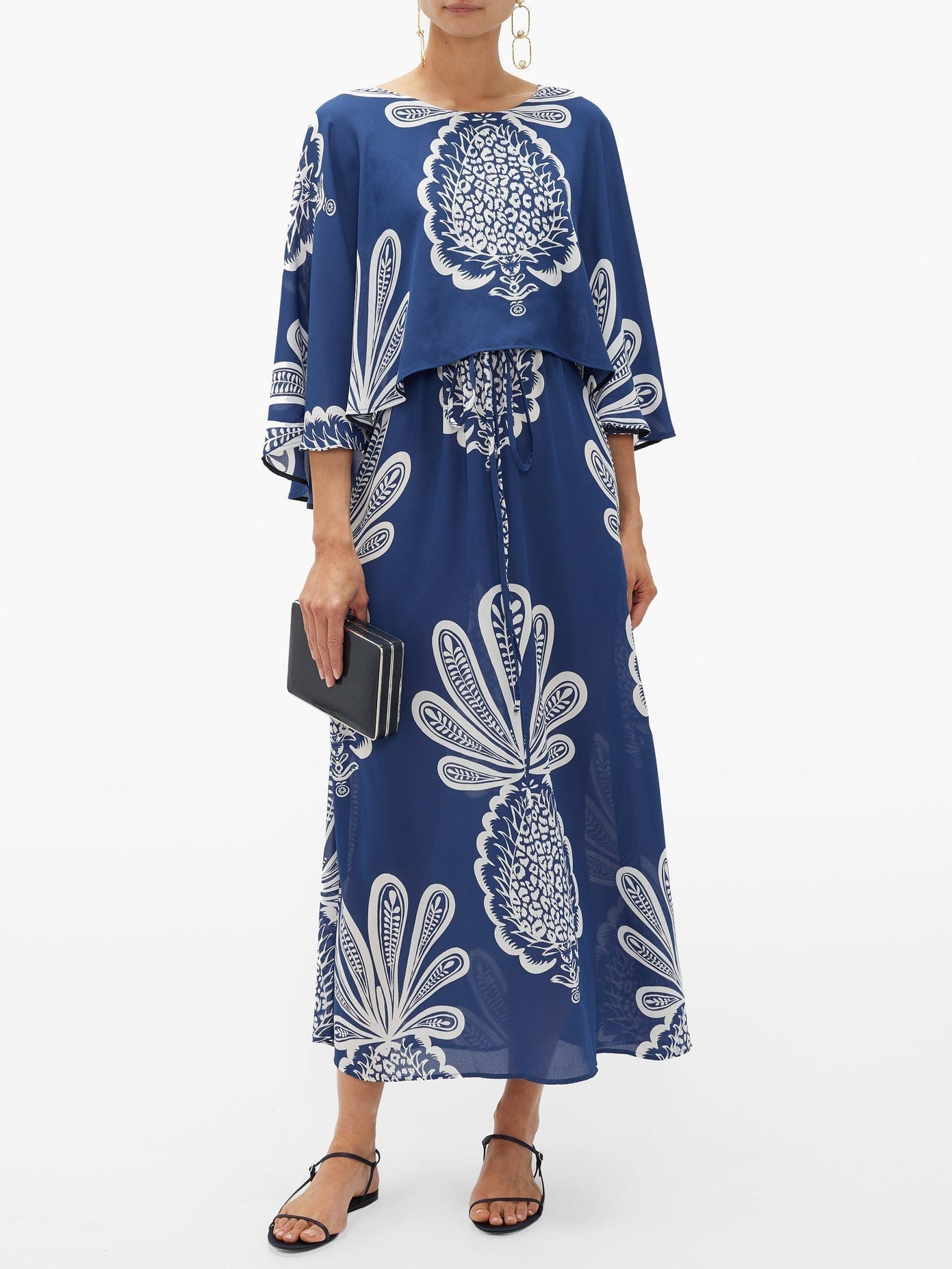 LA DOUBLEJ Bain Douche Pineapple-print Georgette Dress