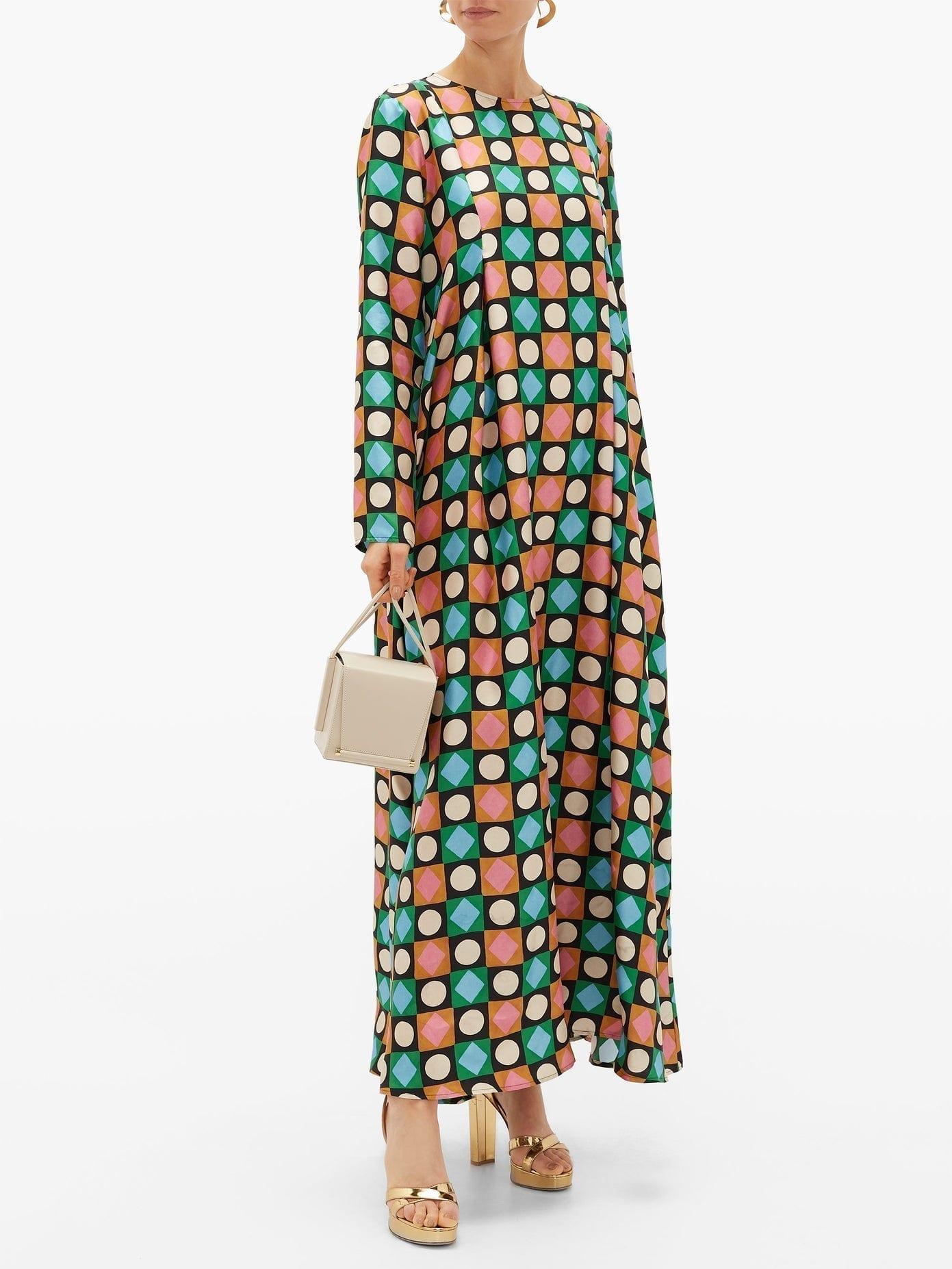 LA DOUBLEJ Trapezio Lucky Charms-print Silk Maxi Dress